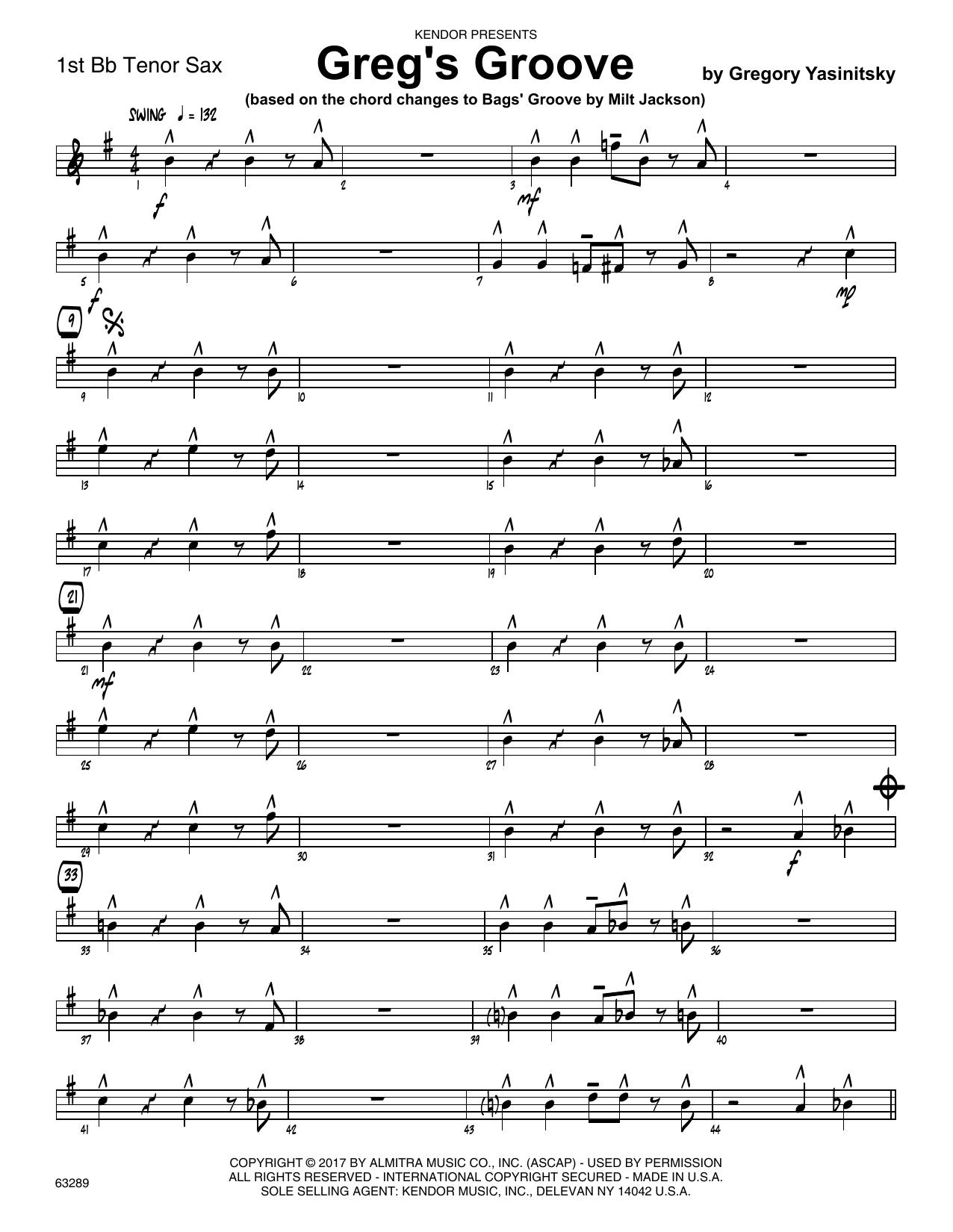 Greg's Groove - 1st Tenor Saxophone Sheet Music