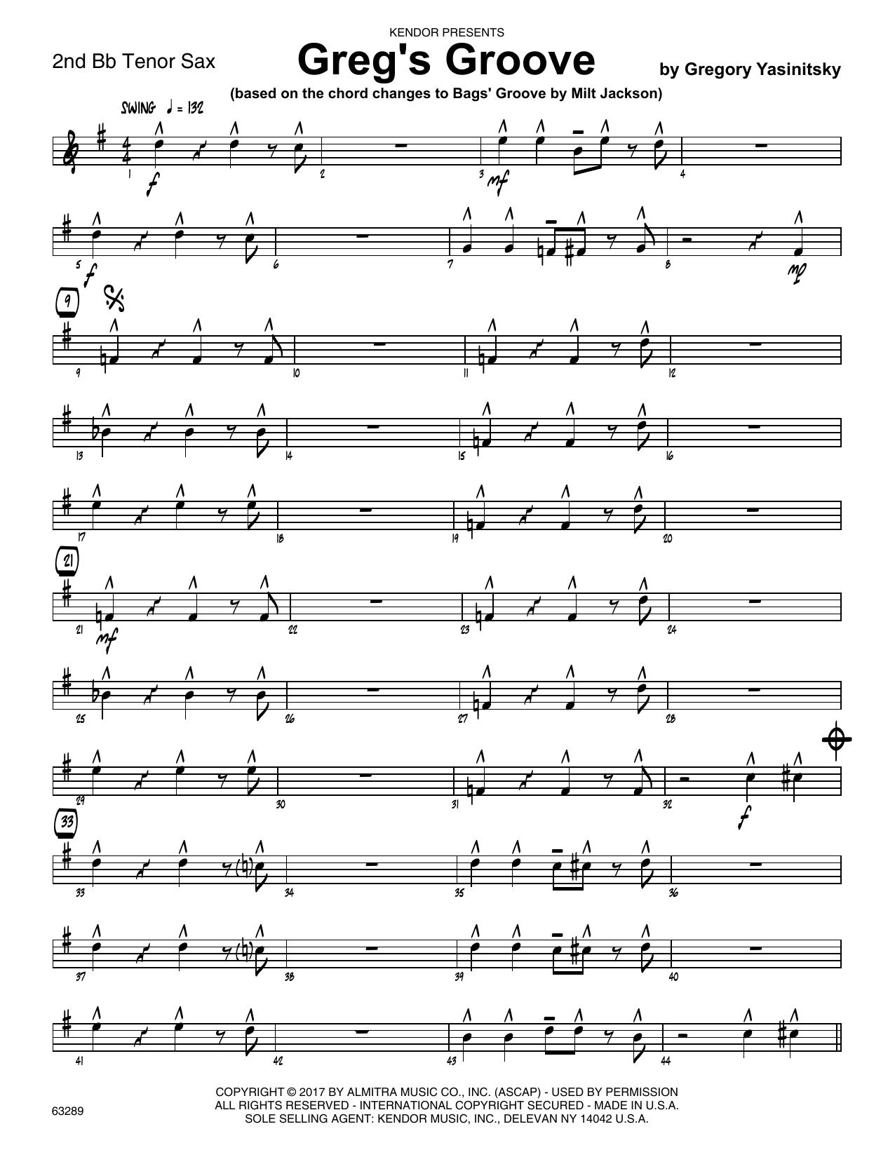 Greg's Groove - 2nd Bb Tenor Saxophone Sheet Music