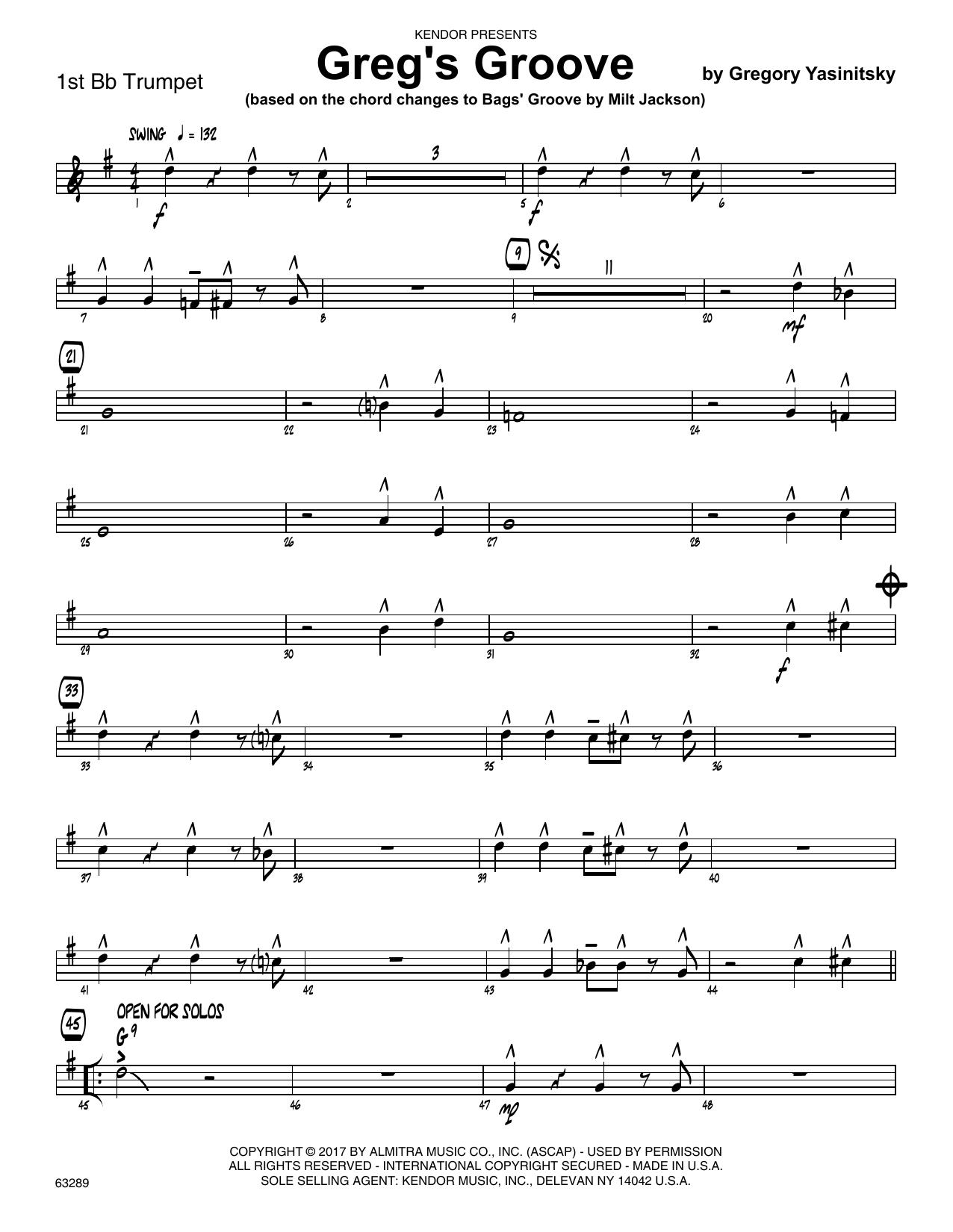 Greg's Groove - 1st Bb Trumpet Sheet Music