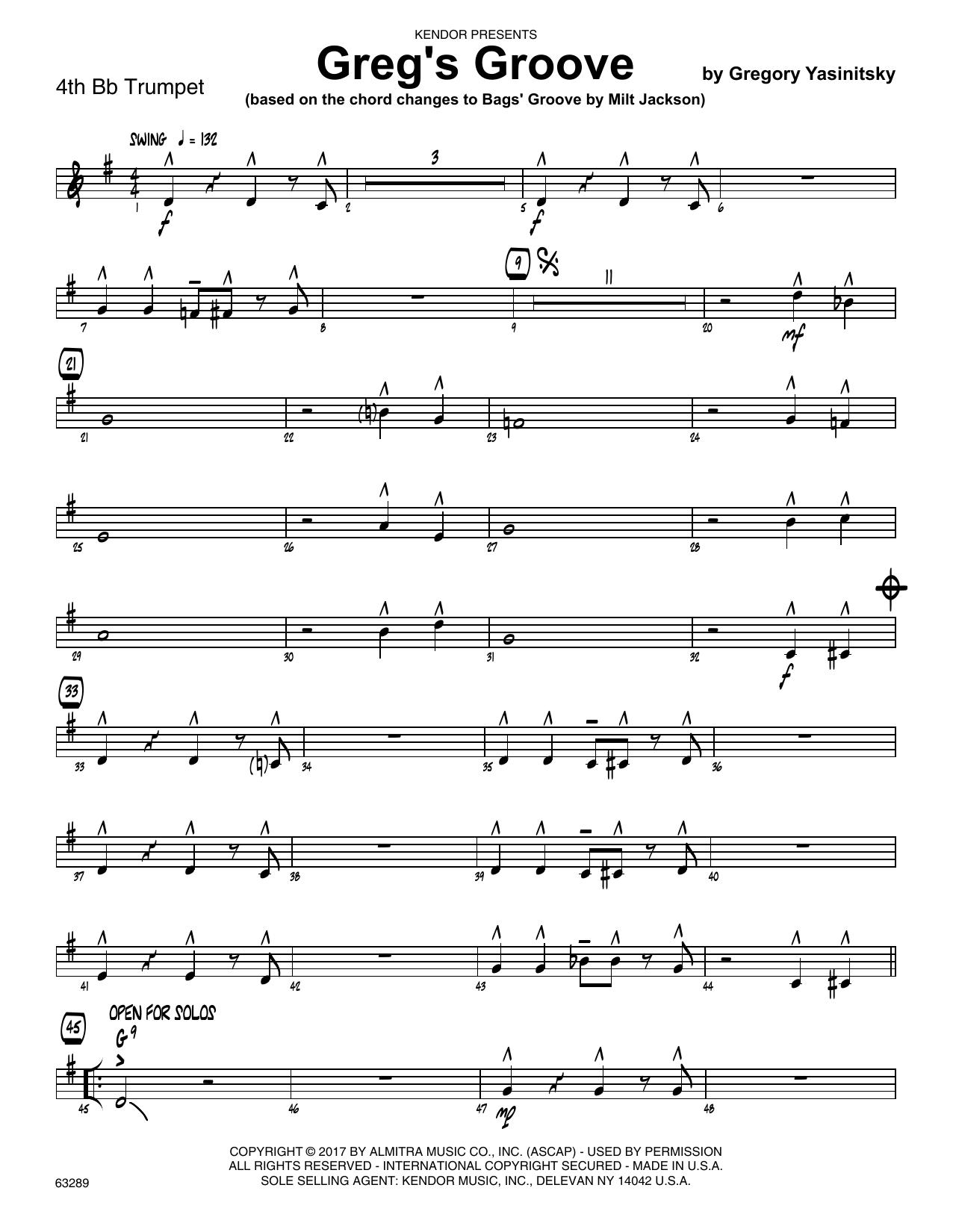 Greg's Groove - 4th Bb Trumpet Sheet Music