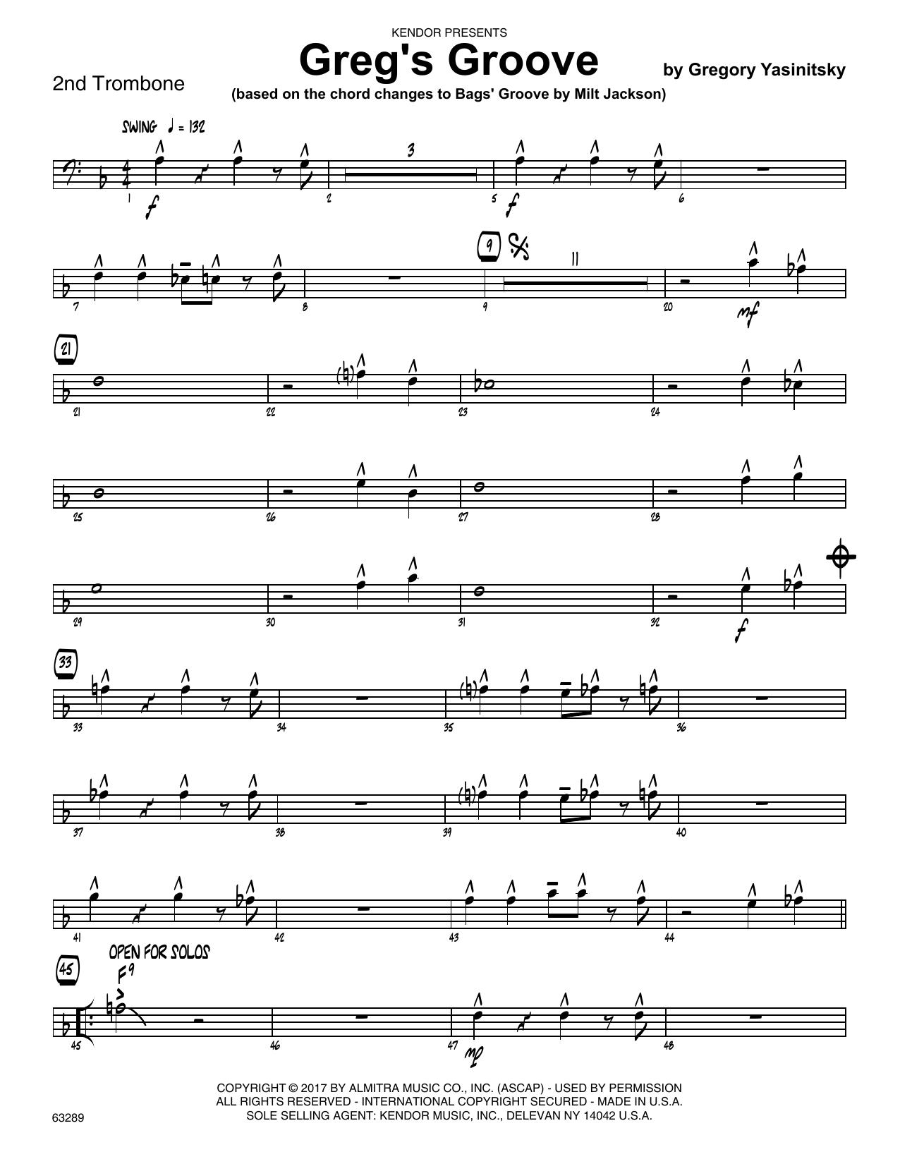Greg's Groove - 2nd Trombone Sheet Music