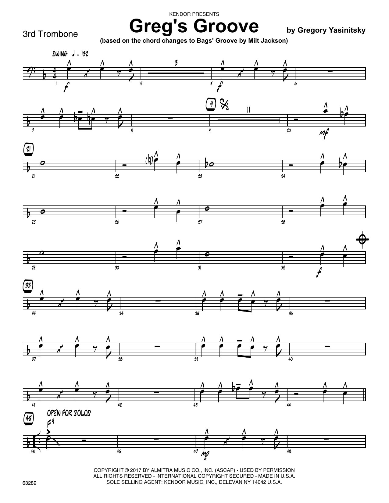Greg's Groove - 3rd Trombone Sheet Music