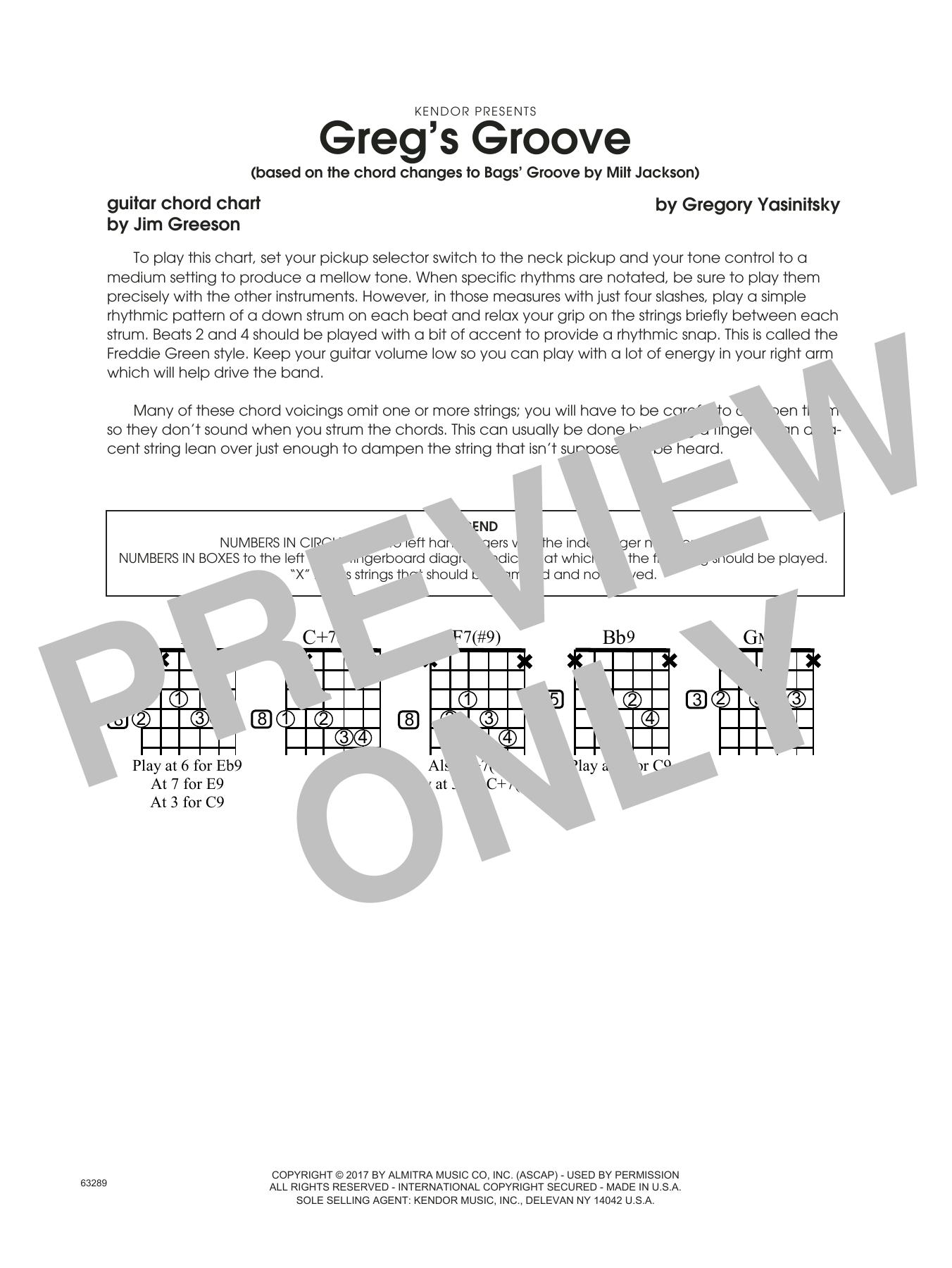 Greg's Groove - Guitar Chord Chart Sheet Music
