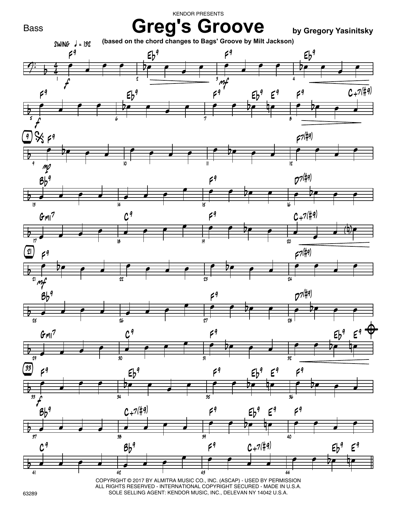 Greg's Groove - Bass Sheet Music