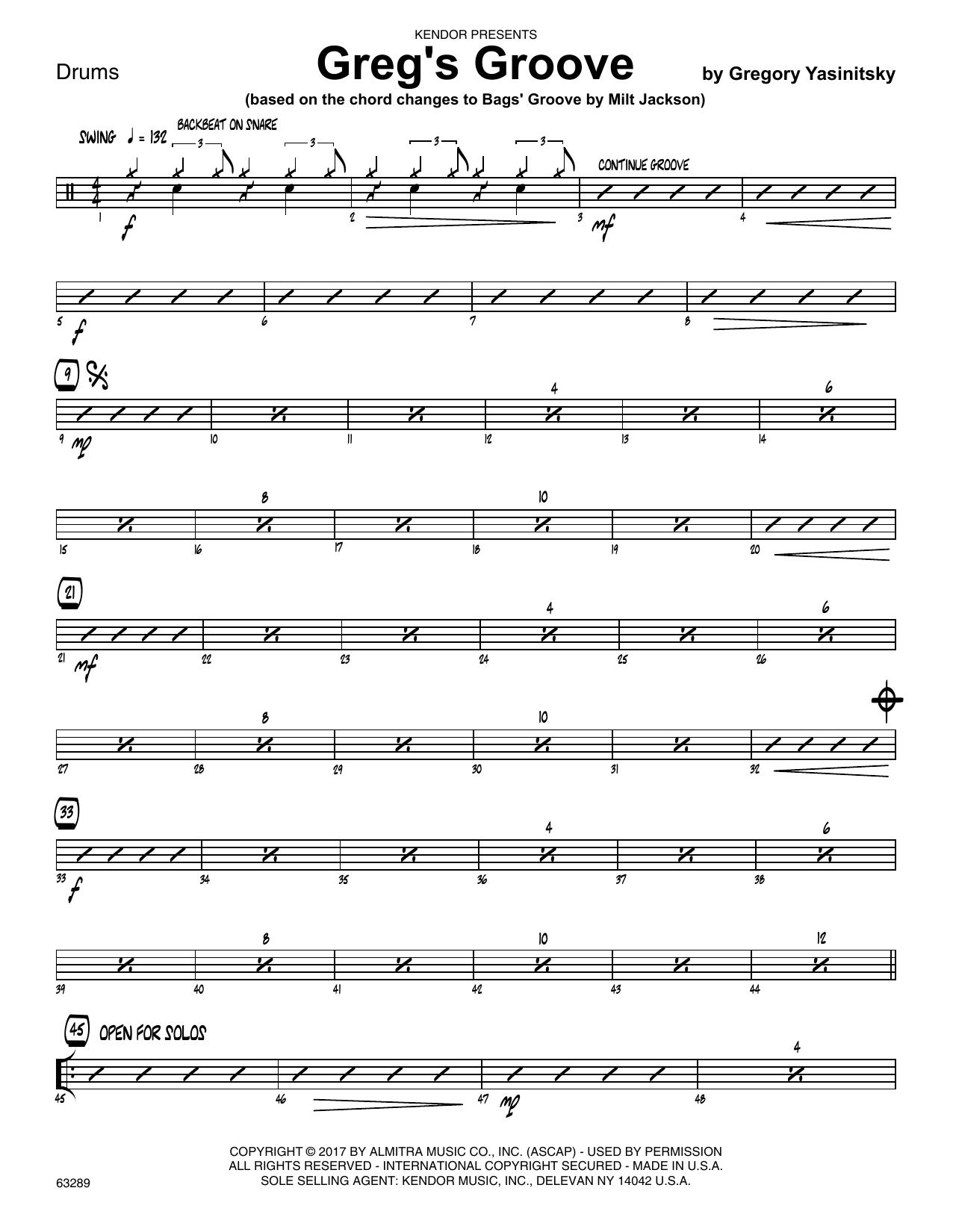 Greg's Groove - Drum Set Sheet Music