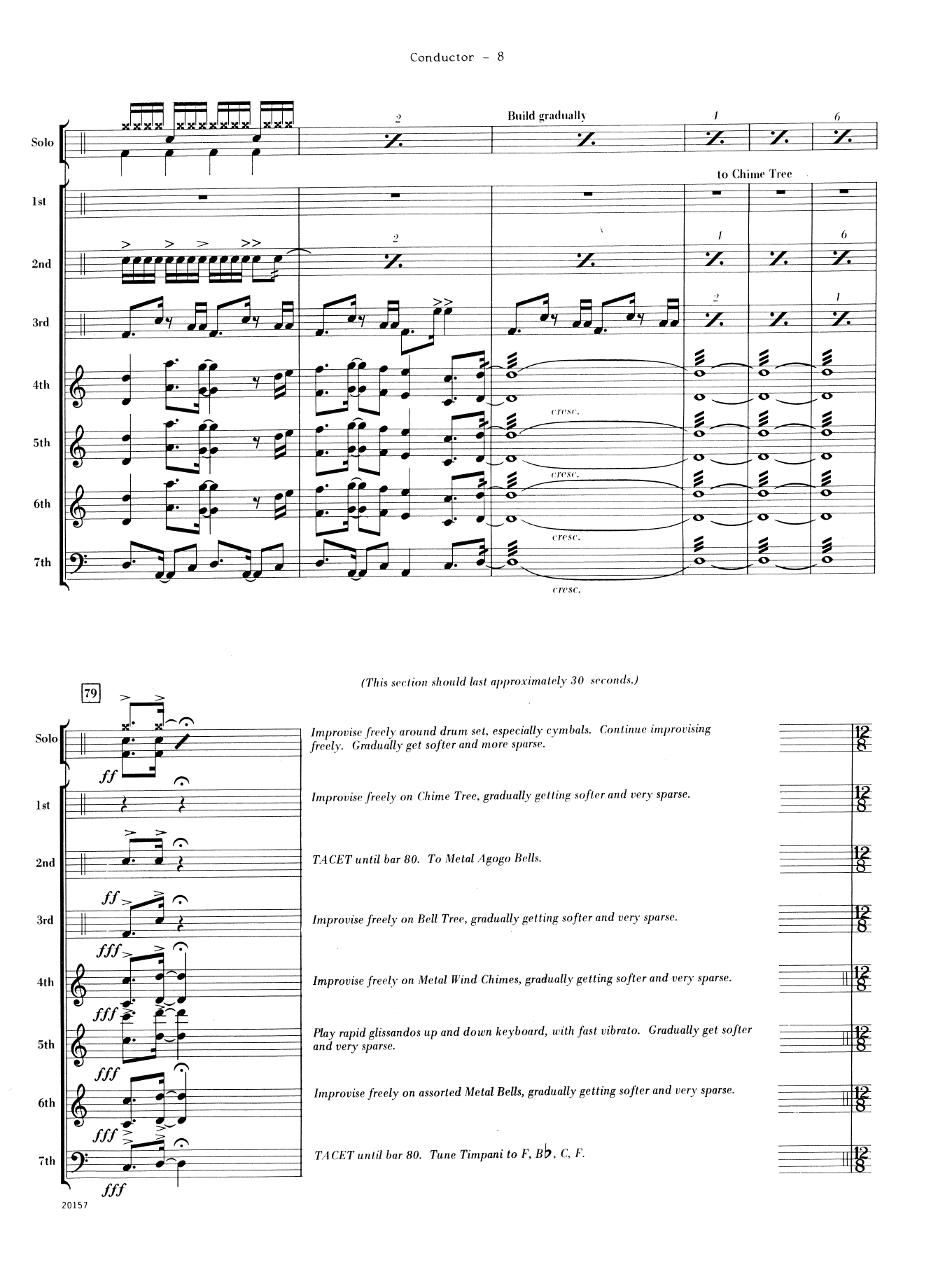 Suite For Solo Drum Set and Percussion Ensemble (COMPLETE) sheet music for percussions by Dave Mancini. Score Image Preview.