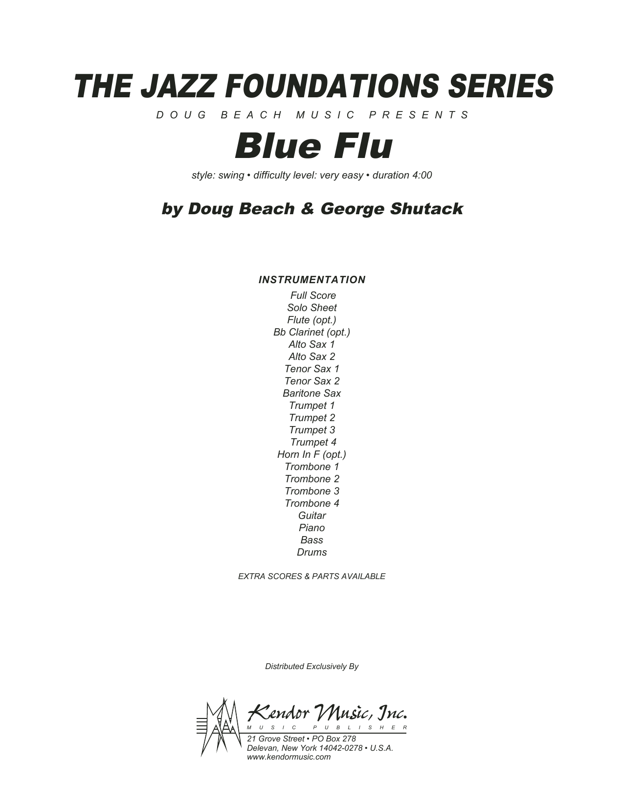 Blue Flu (COMPLETE) sheet music for jazz band by Doug Beach & George Shutack. Score Image Preview.