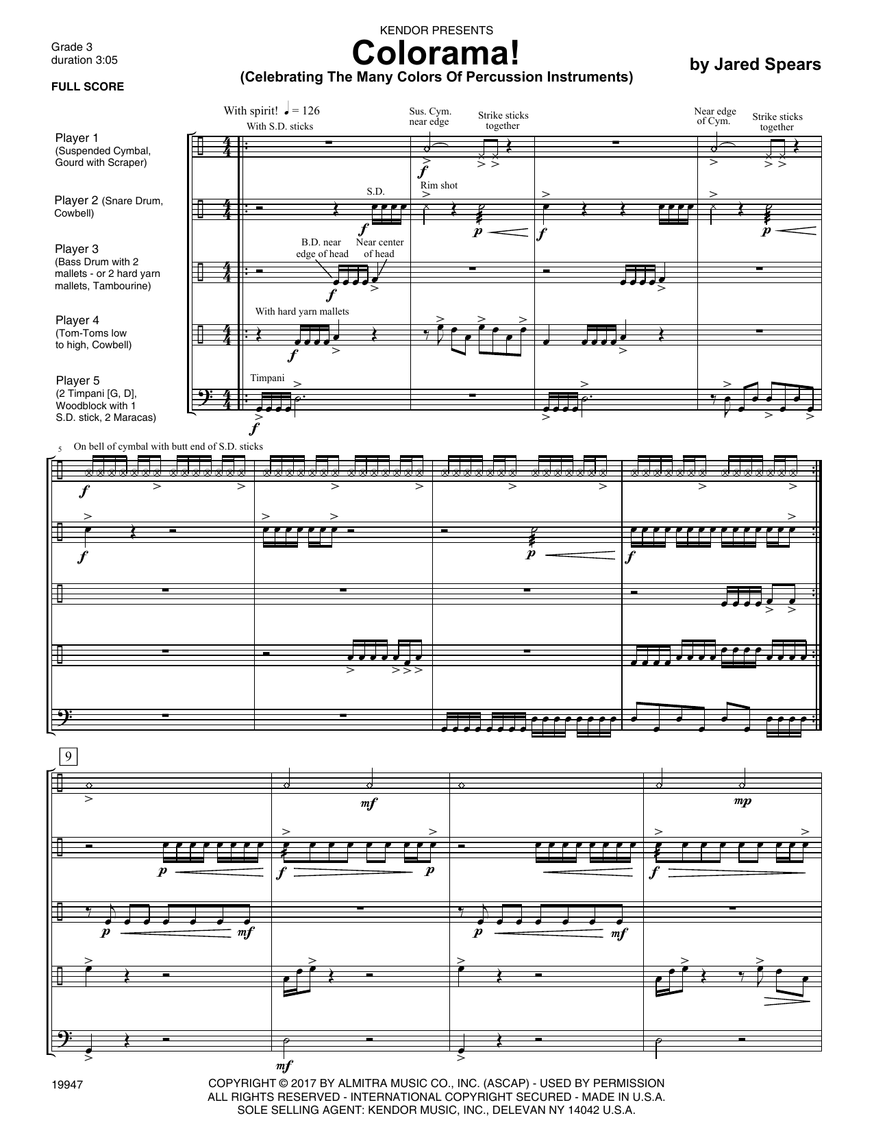 Colorama! (Celebrating The Many Colors Of Percussion Instruments) (COMPLETE) sheet music for percussions by Jared Spears. Score Image Preview.