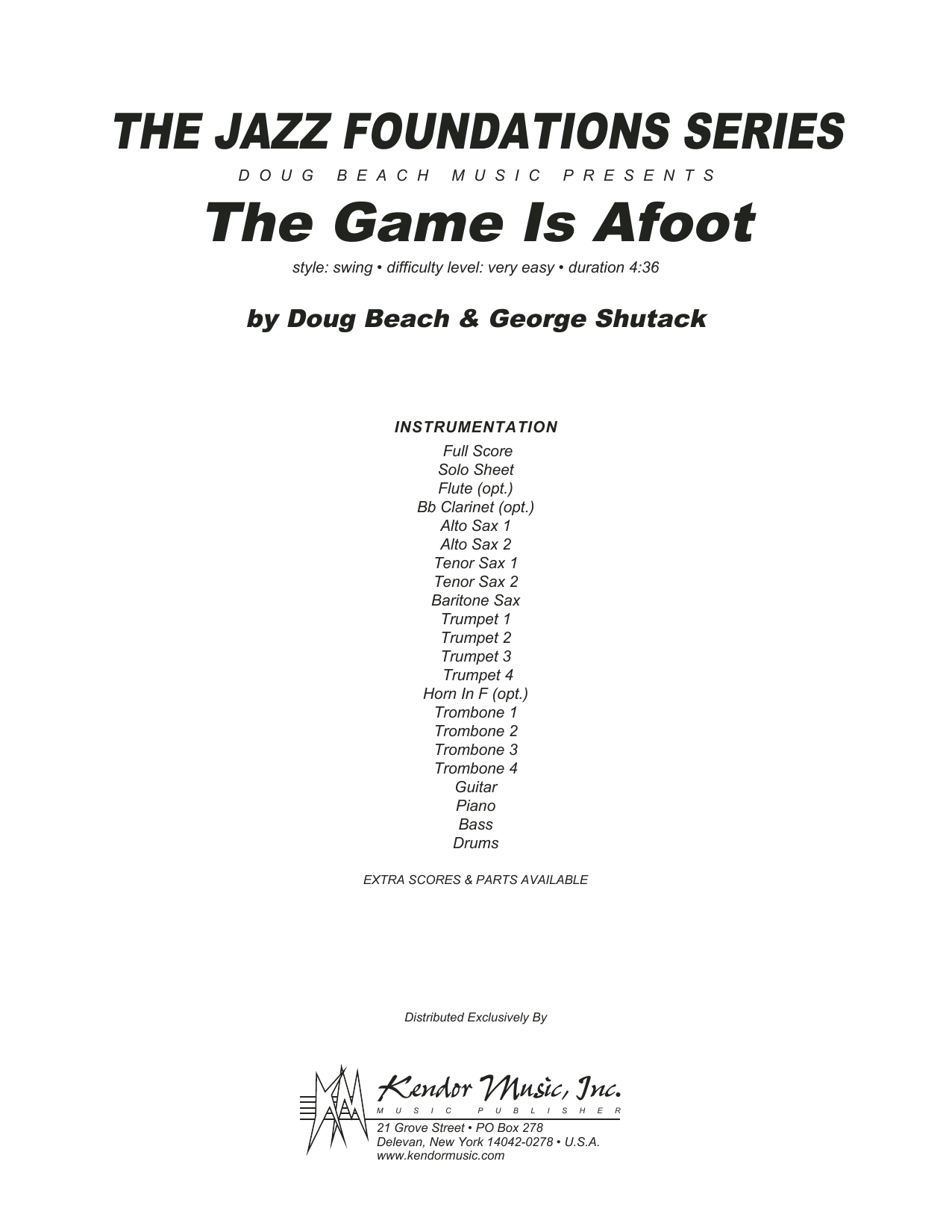 The Game Is Afoot (COMPLETE) sheet music for jazz band by Doug Beach & George Shutack. Score Image Preview.
