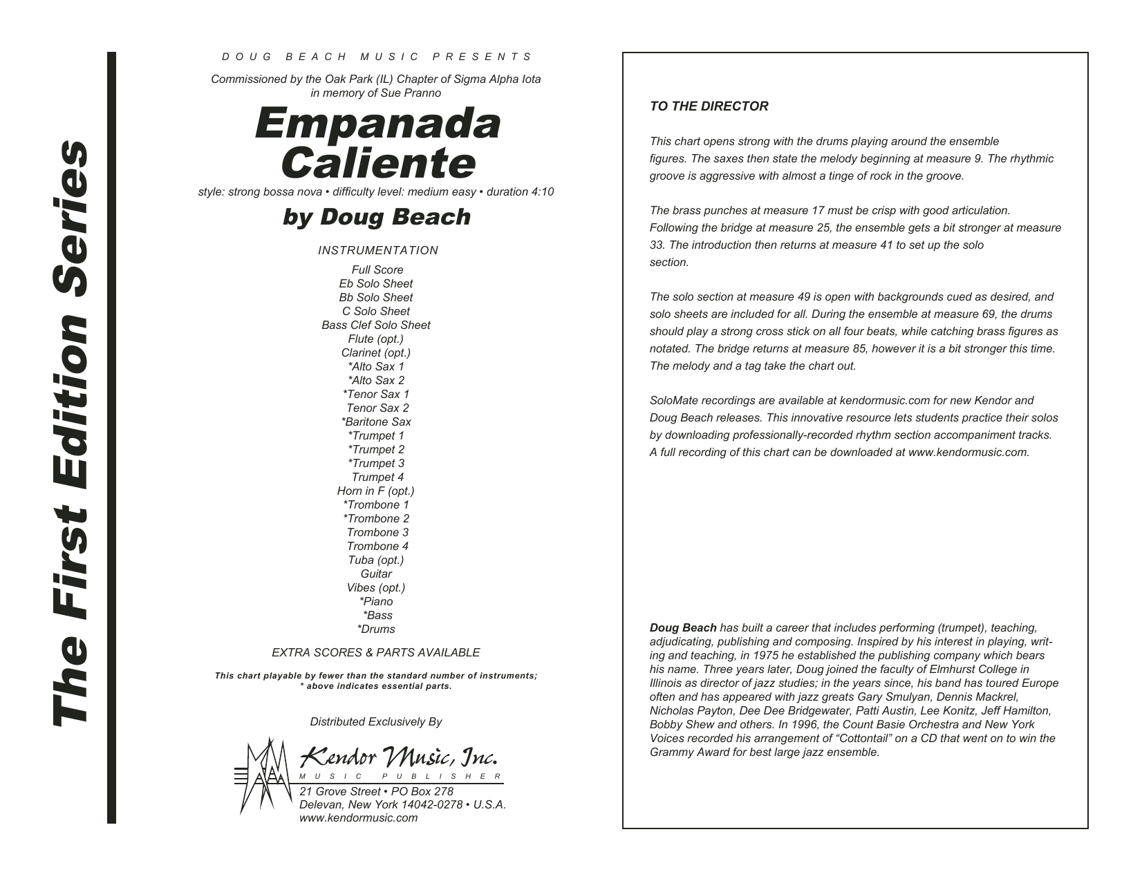Empanada Caliente (COMPLETE) sheet music for jazz band by Doug Beach. Score Image Preview.