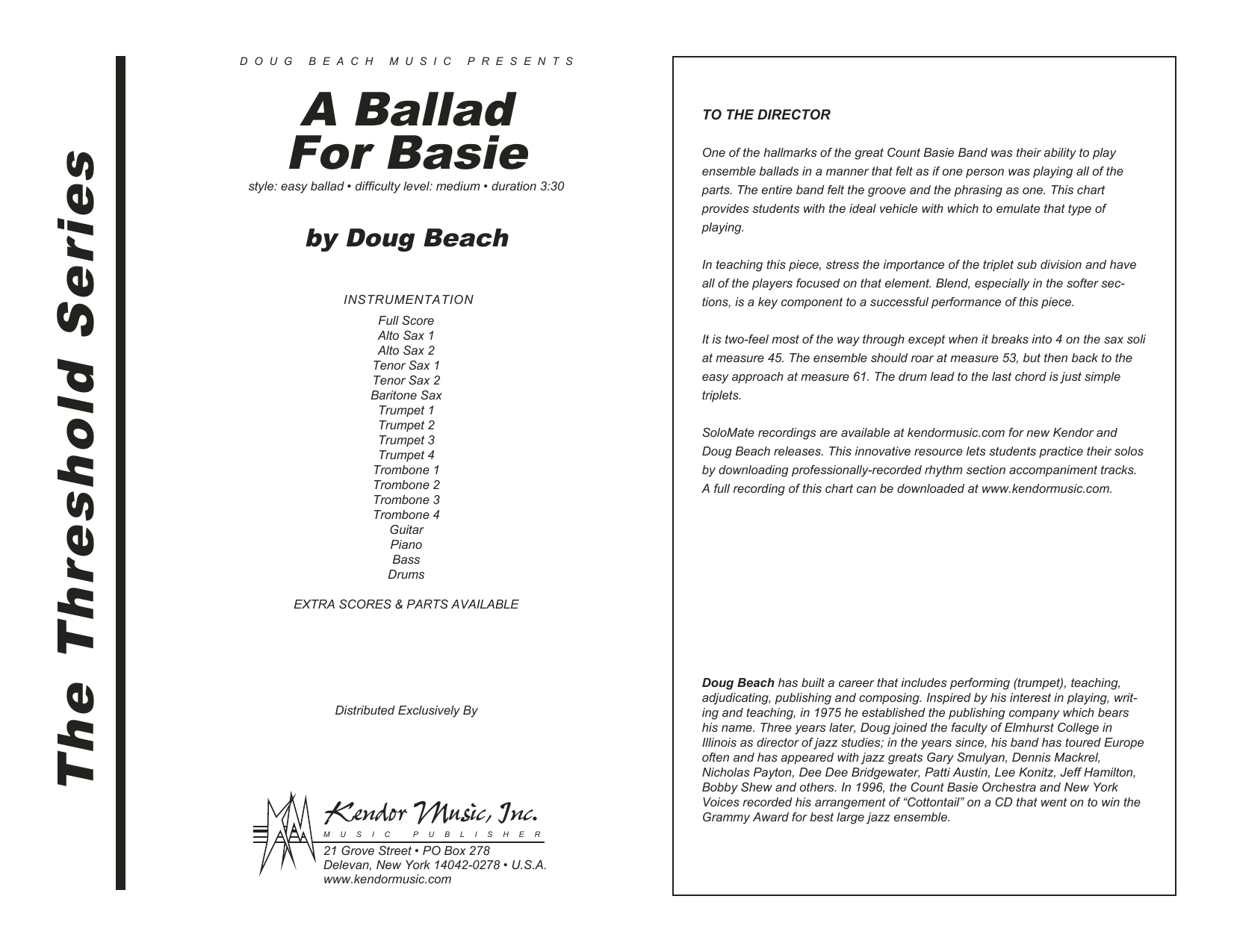 A Ballad For Basie (COMPLETE) sheet music for jazz band by Doug Beach. Score Image Preview.