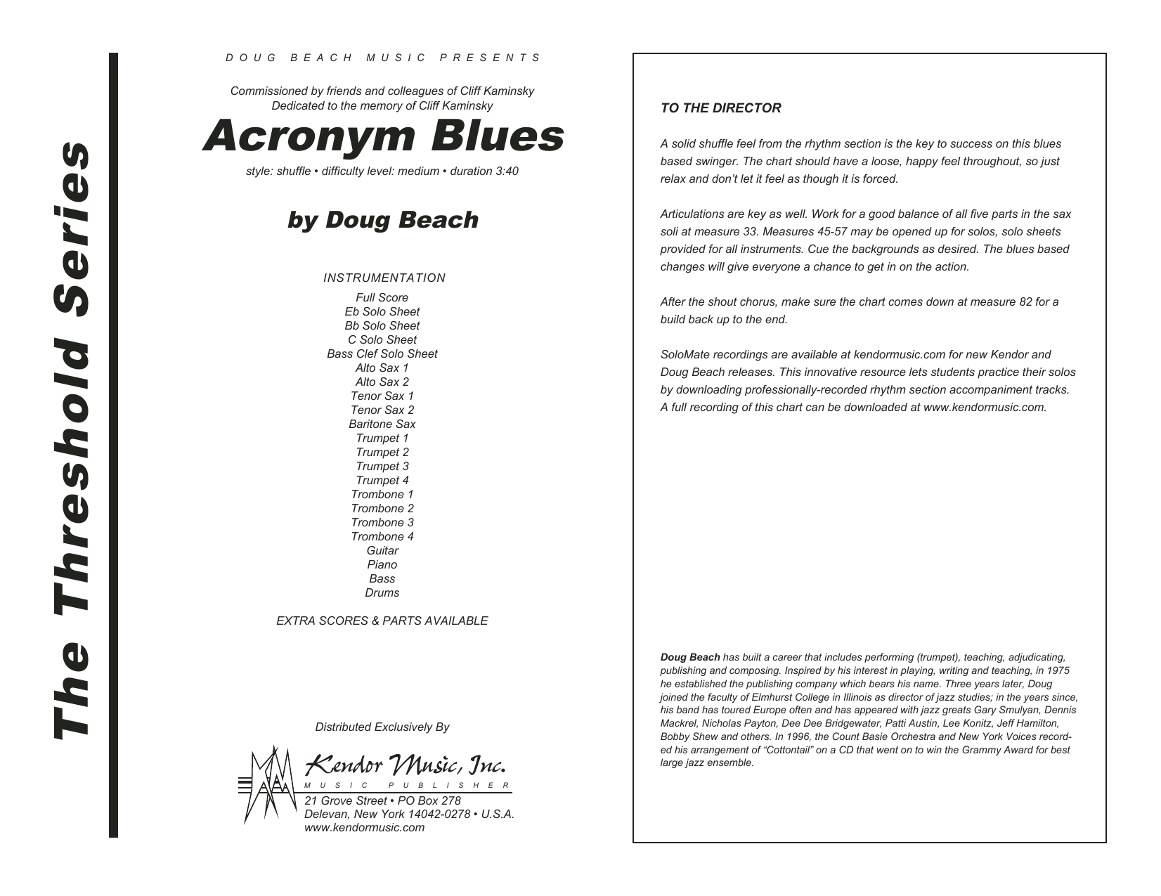 Acronym Blues (COMPLETE) sheet music for jazz band by Doug Beach. Score Image Preview.