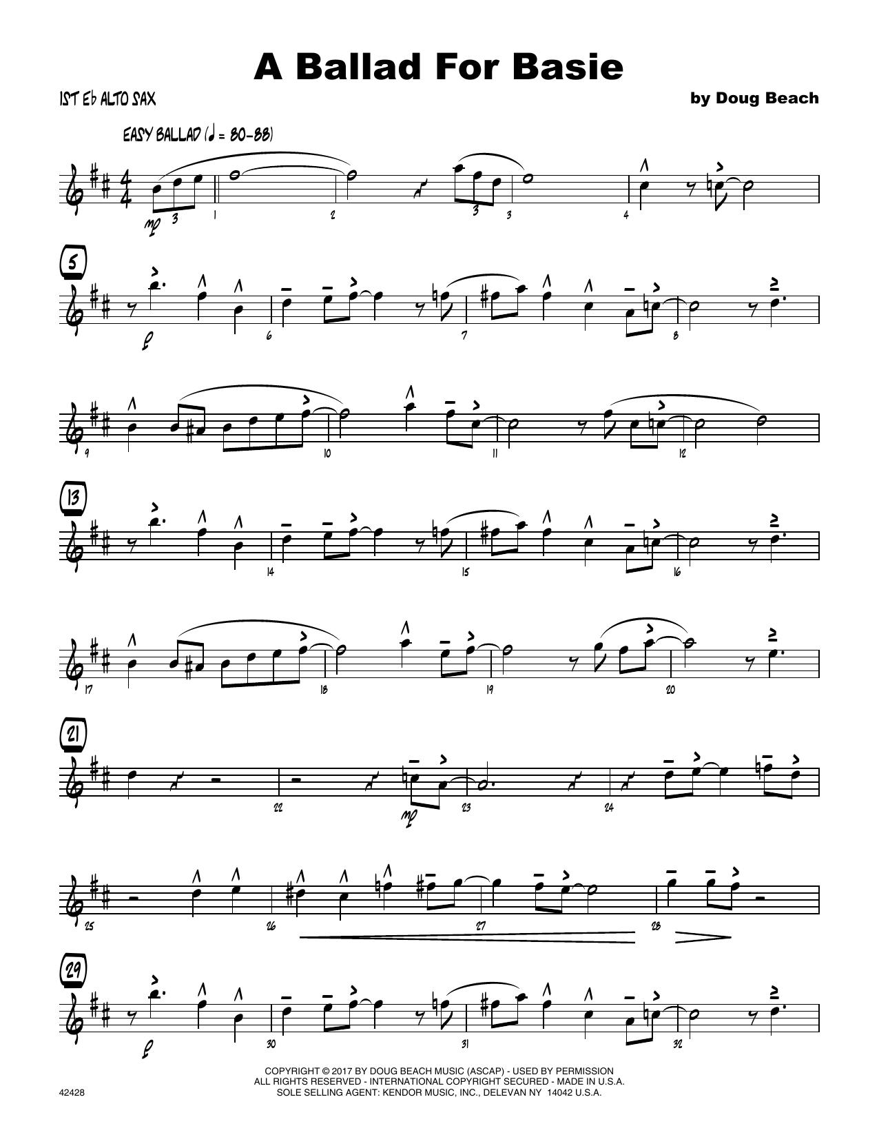 A Ballad For Basie - 1st Eb Alto Saxophone Sheet Music