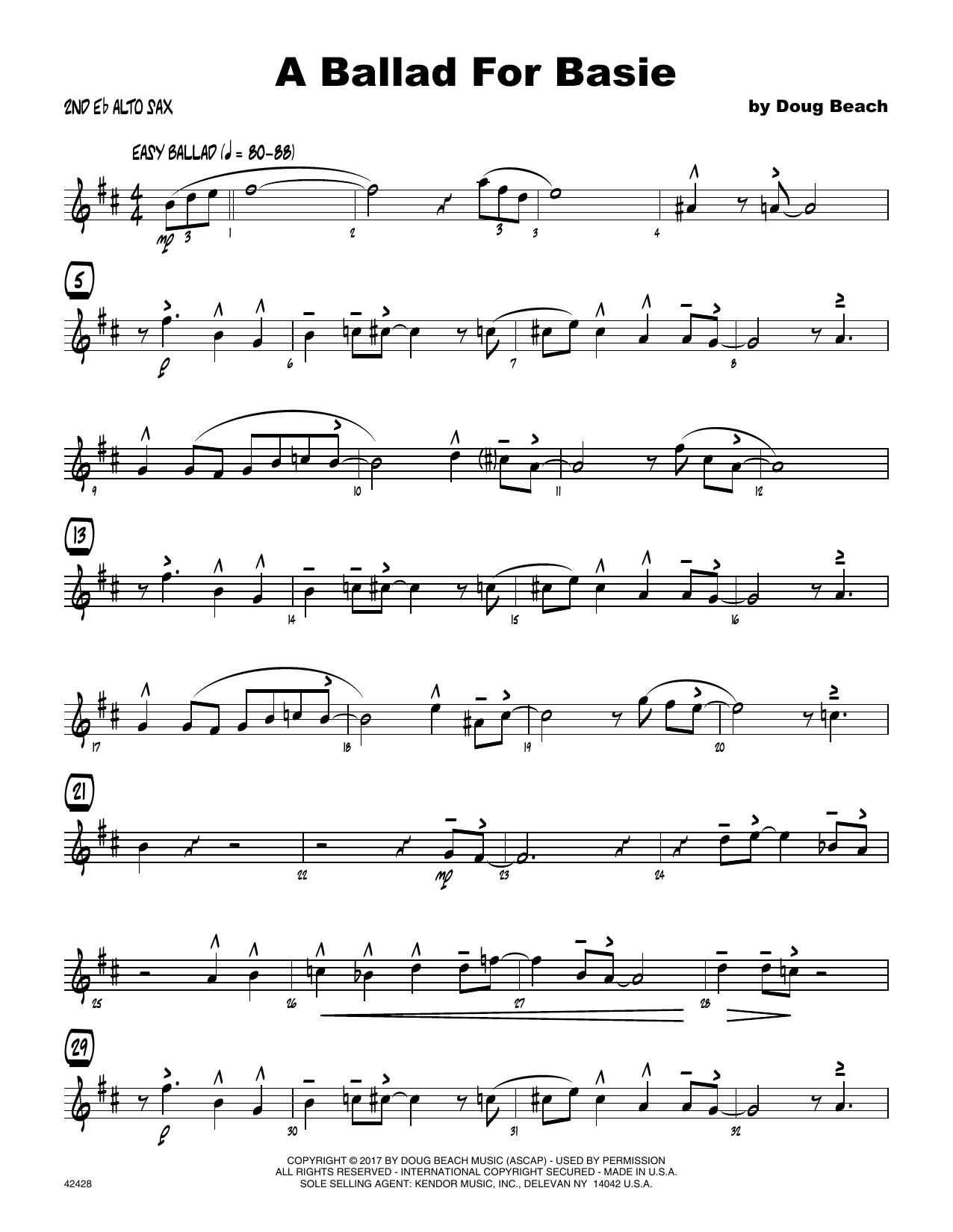 A Ballad For Basie - 2nd Eb Alto Saxophone Sheet Music