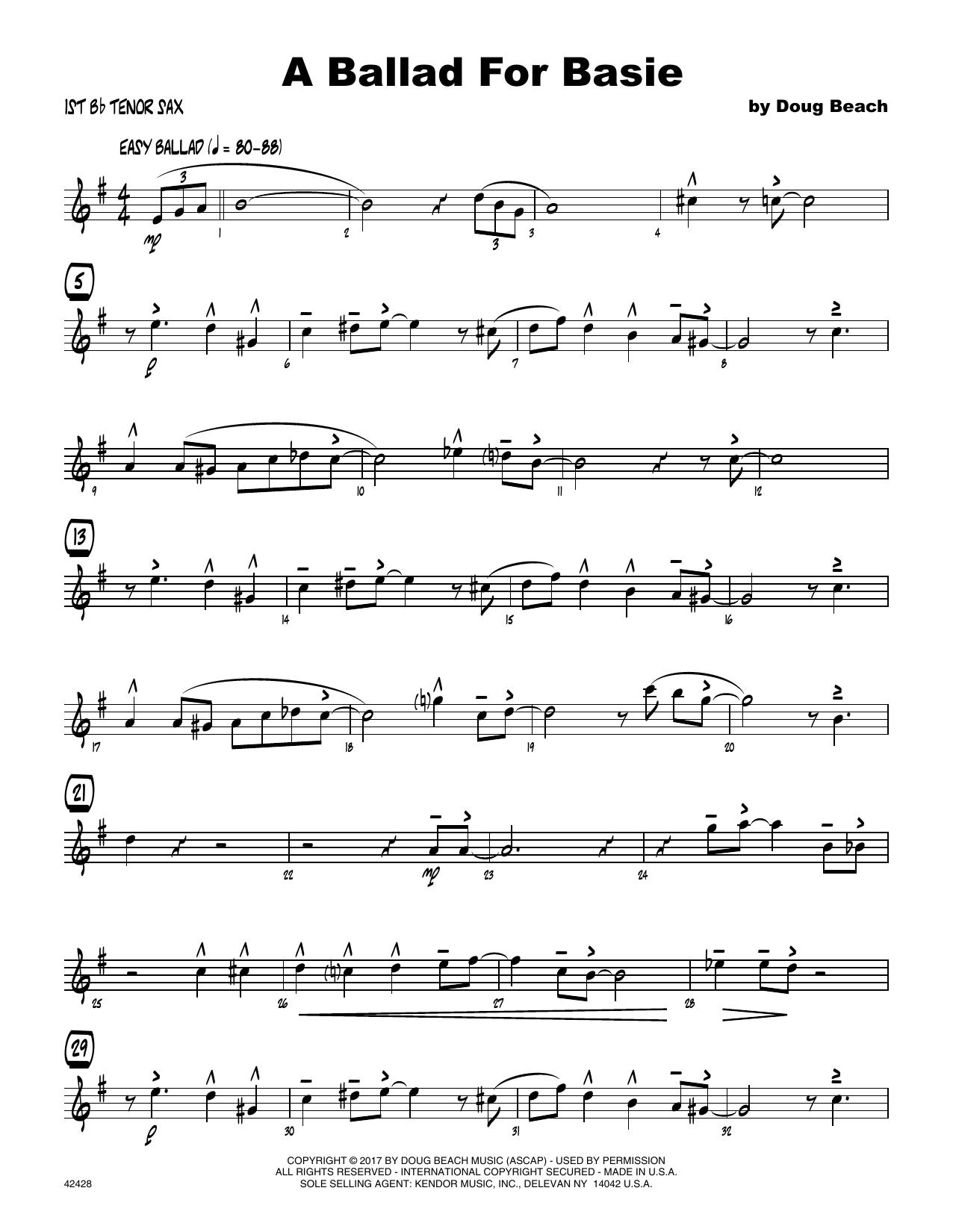 A Ballad For Basie - 1st Tenor Saxophone Sheet Music