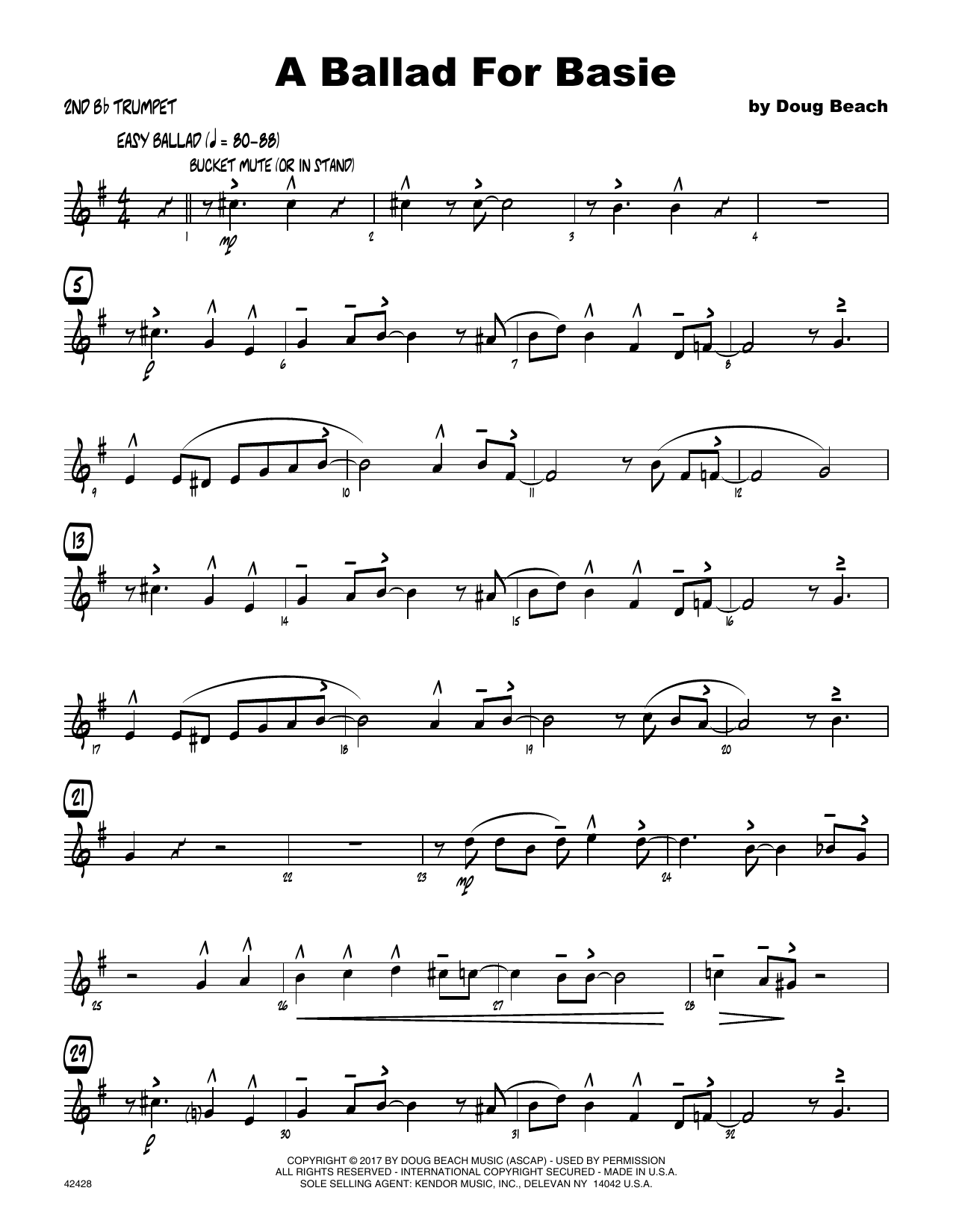A Ballad For Basie - 2nd Bb Trumpet - Sheet Music to Download