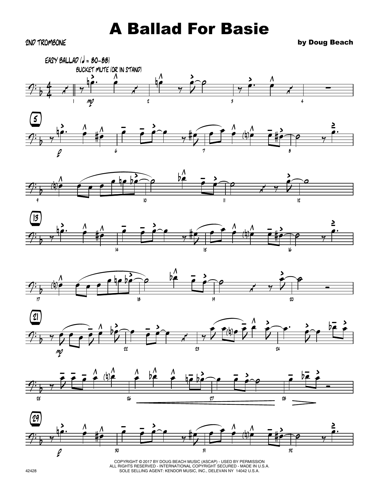 A Ballad For Basie - 2nd Trombone Sheet Music