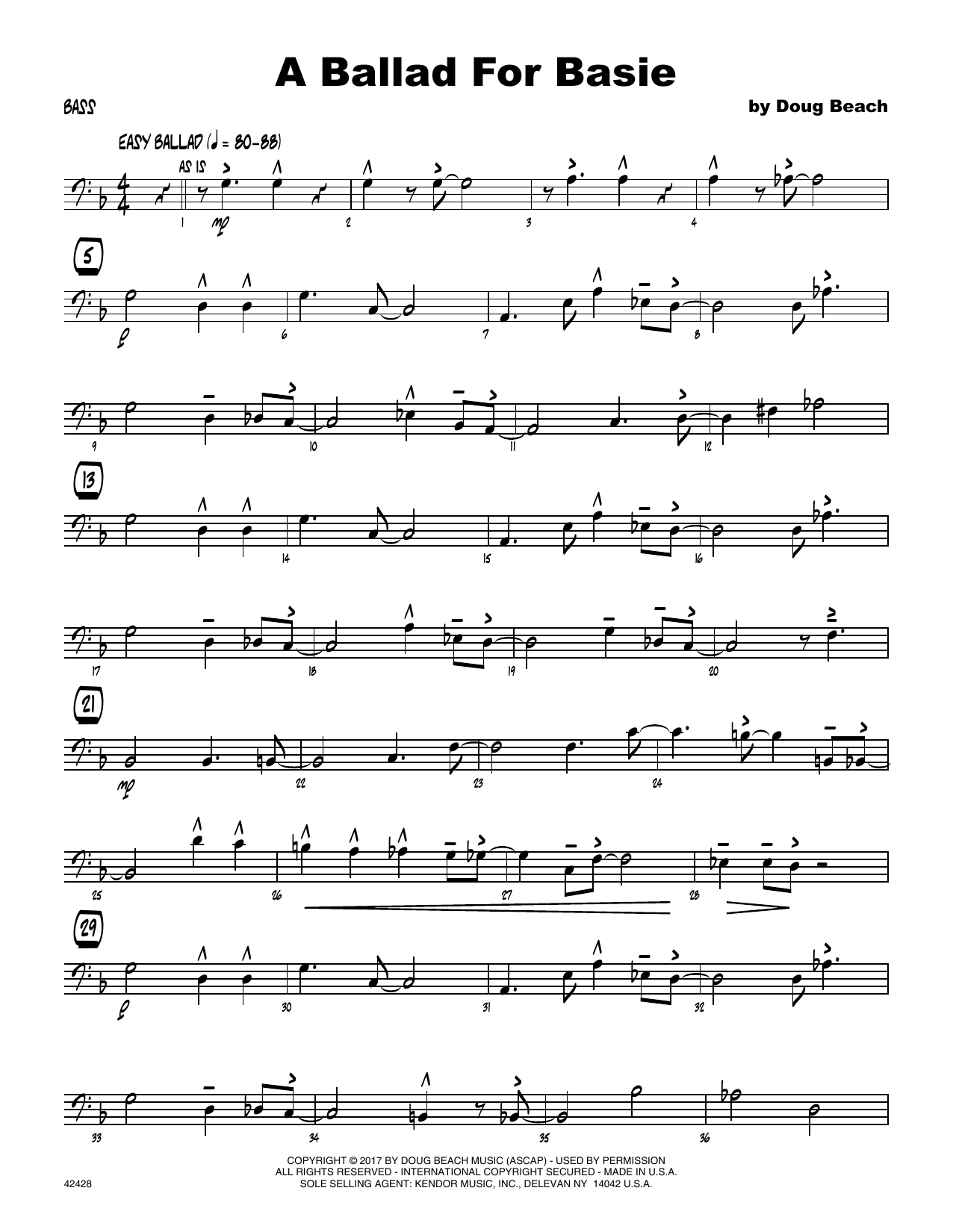 A Ballad For Basie - Bass Sheet Music