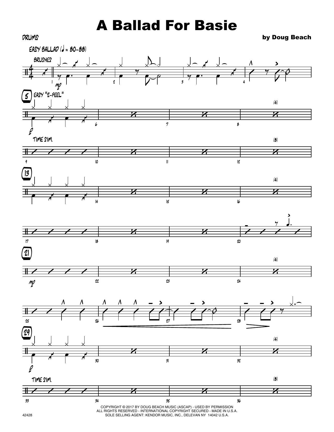 A Ballad For Basie - Drum Set Sheet Music