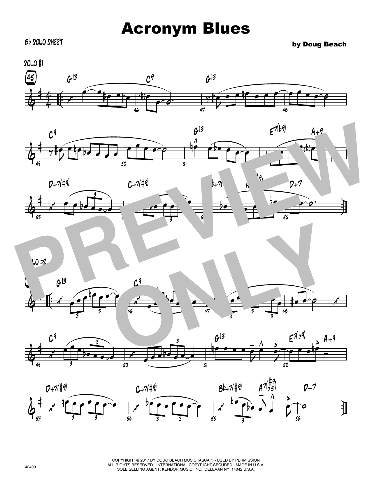 Acronym Blues - Solo Sheet - Tenor Sax Sheet Music
