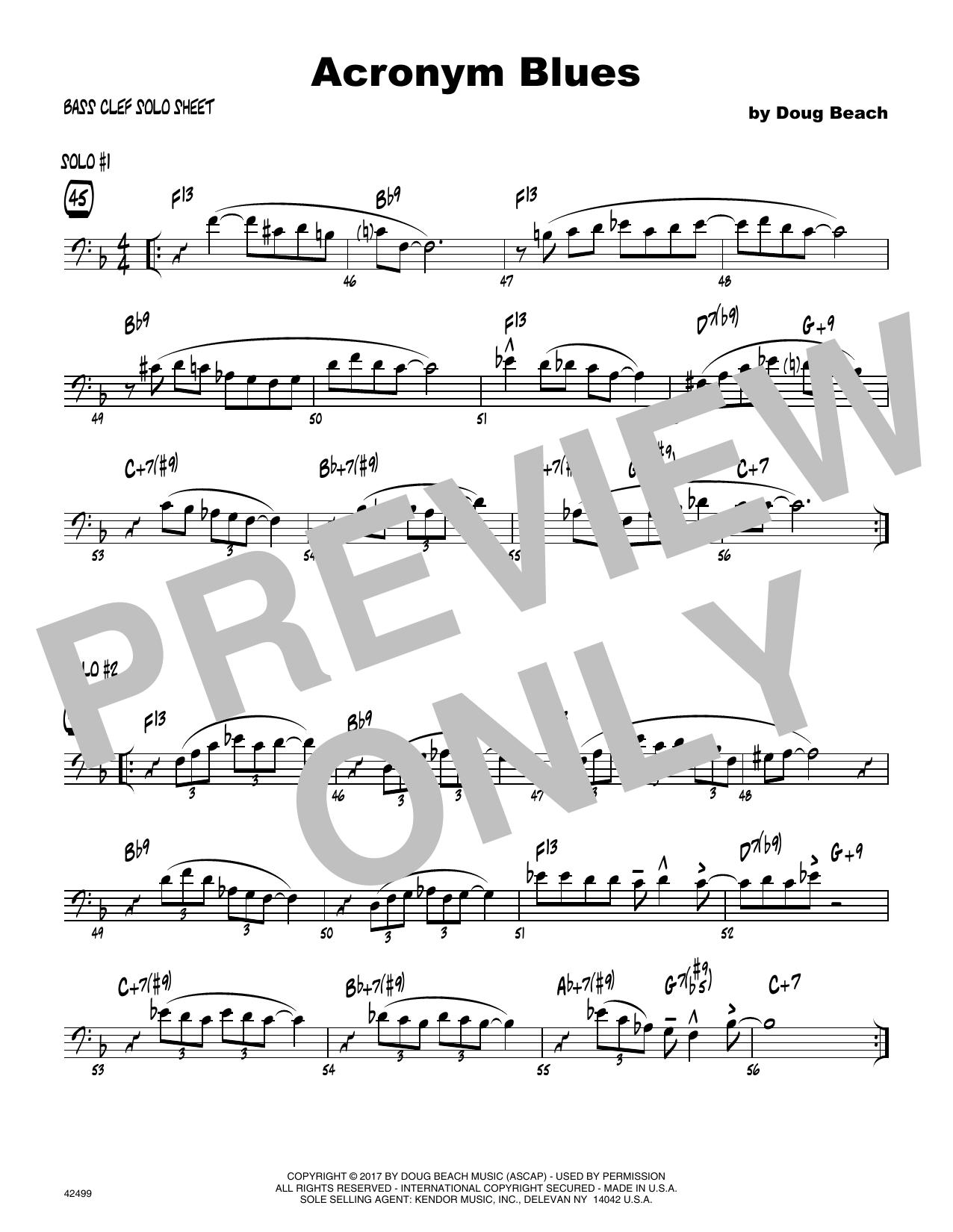 Acronym Blues - Solo Sheet - Trombone Sheet Music