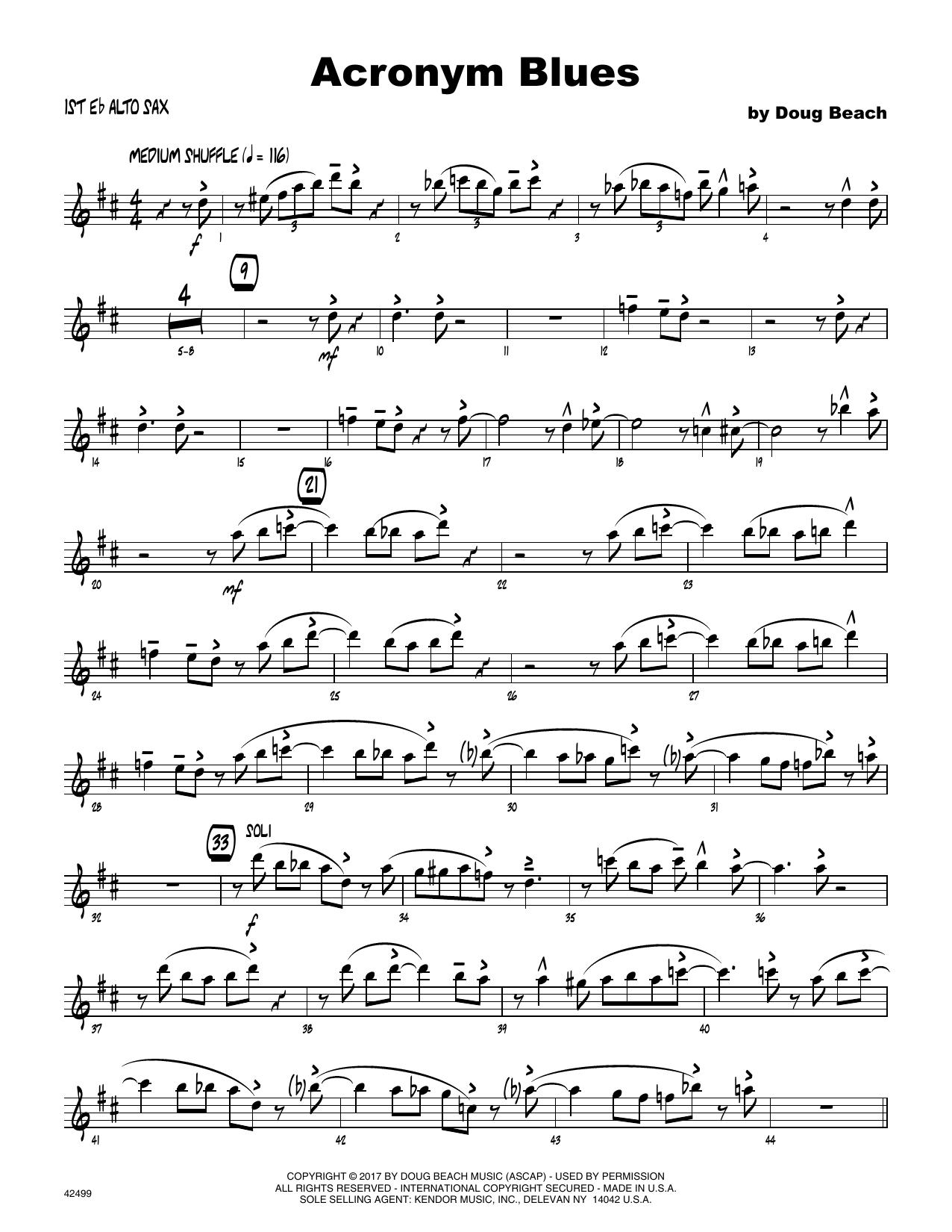 Acronym Blues - 1st Eb Alto Saxophone Sheet Music