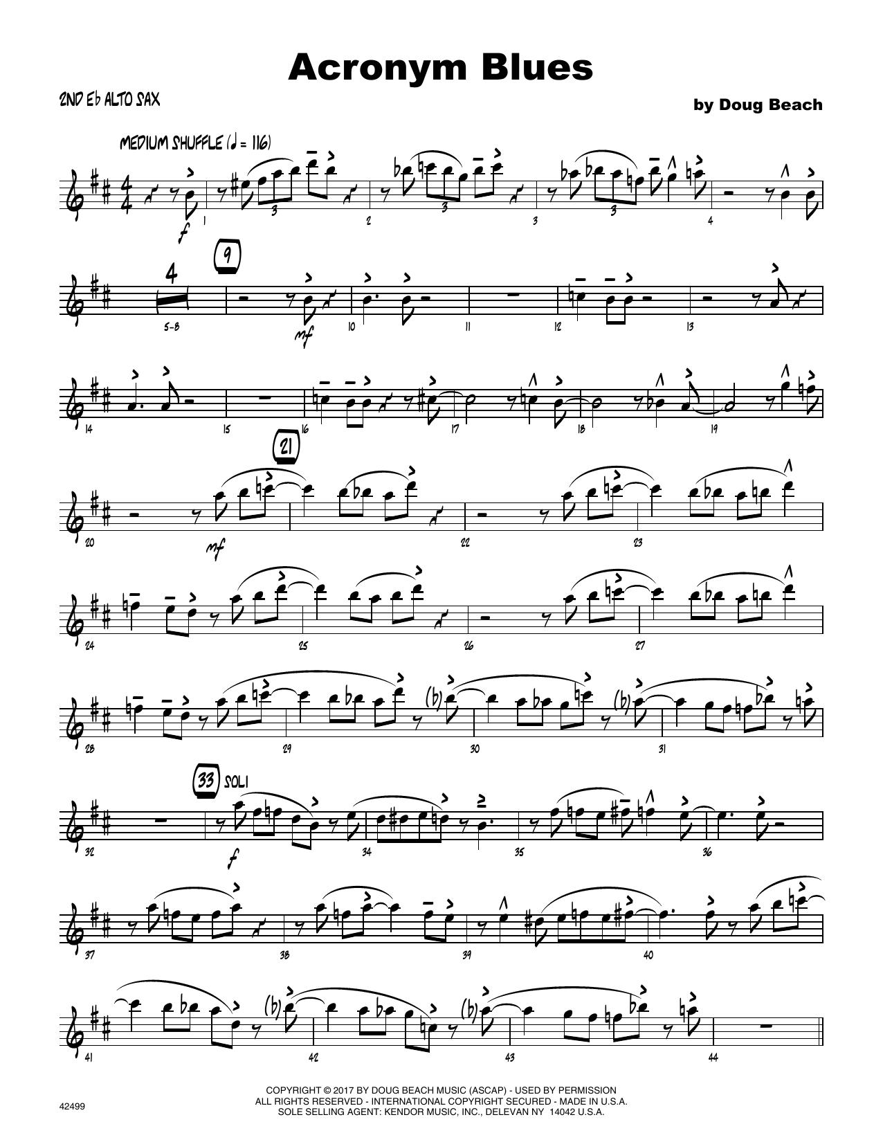 Acronym Blues - 2nd Eb Alto Saxophone Sheet Music