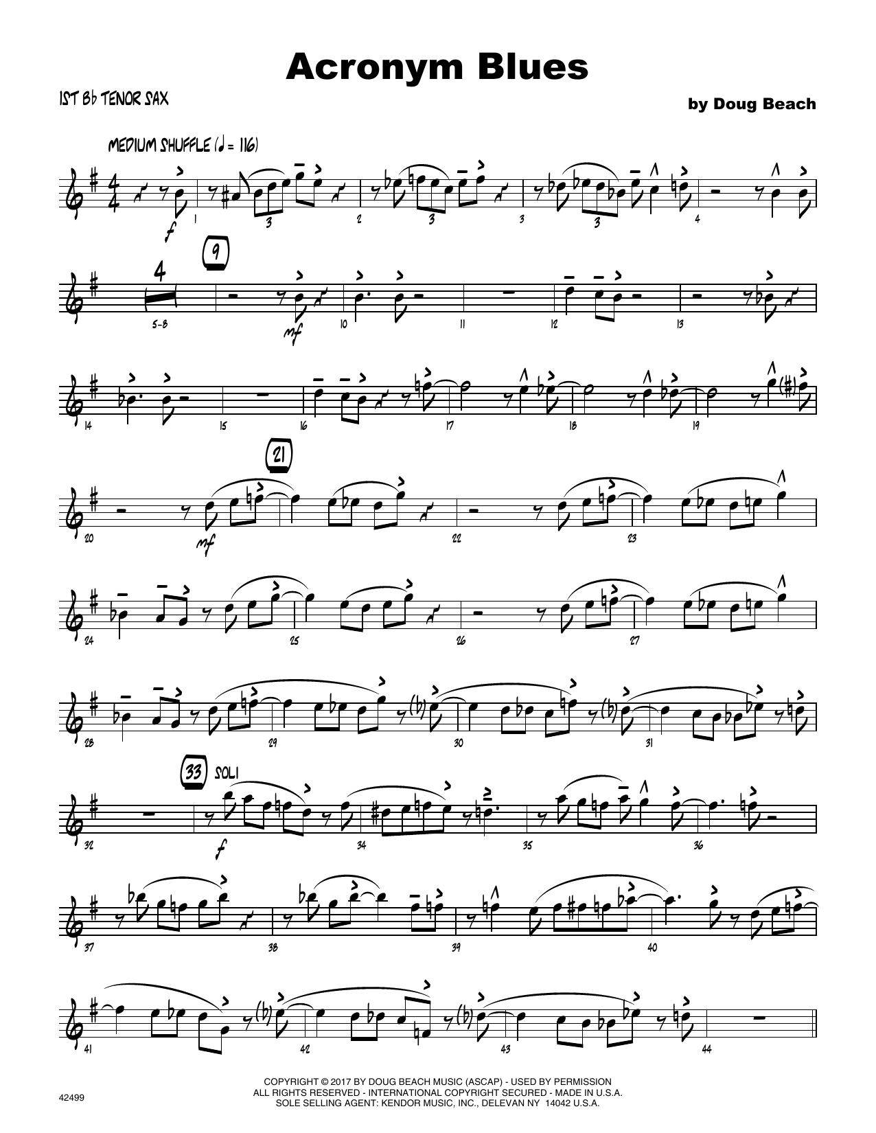 Acronym Blues - 1st Tenor Saxophone Sheet Music