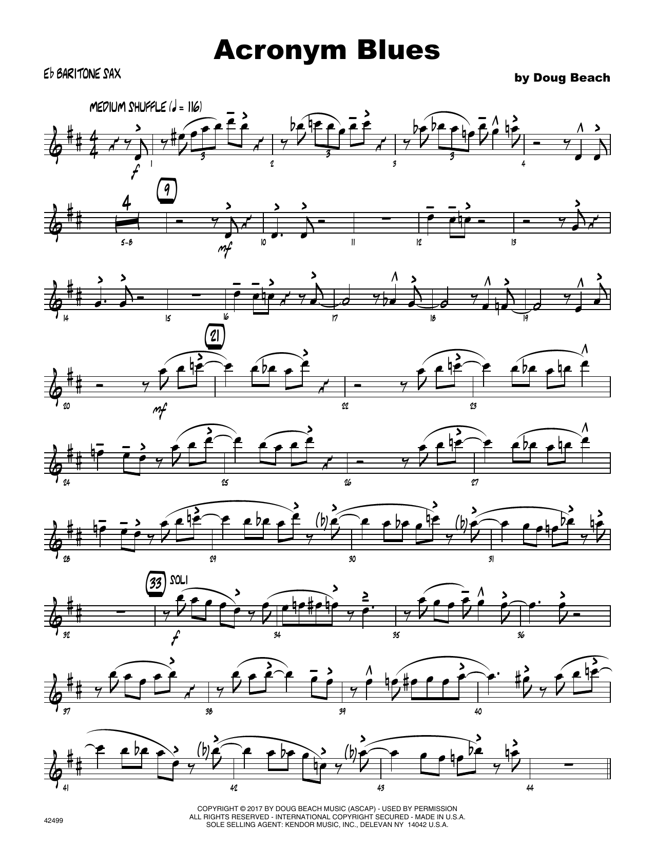 Acronym Blues - Eb Baritone Saxophone Sheet Music