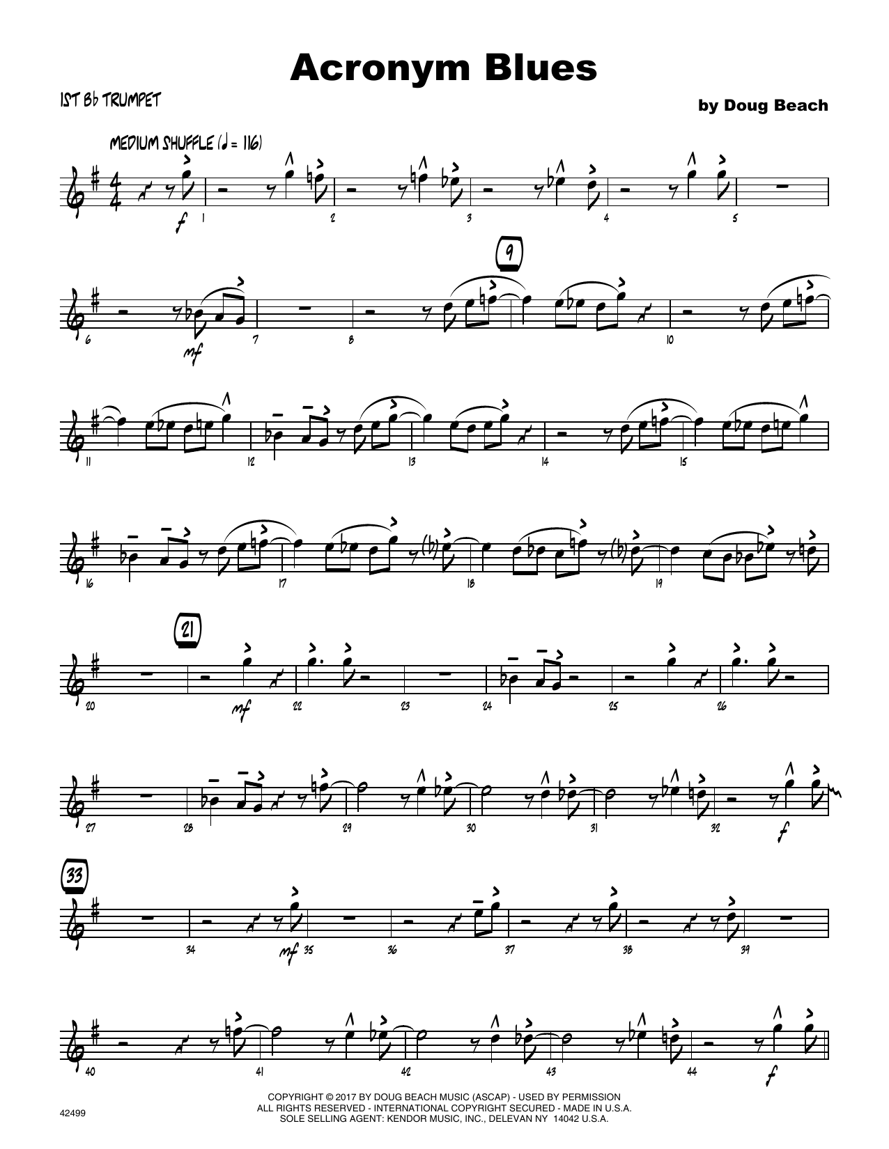 Acronym Blues - 1st Bb Trumpet Sheet Music