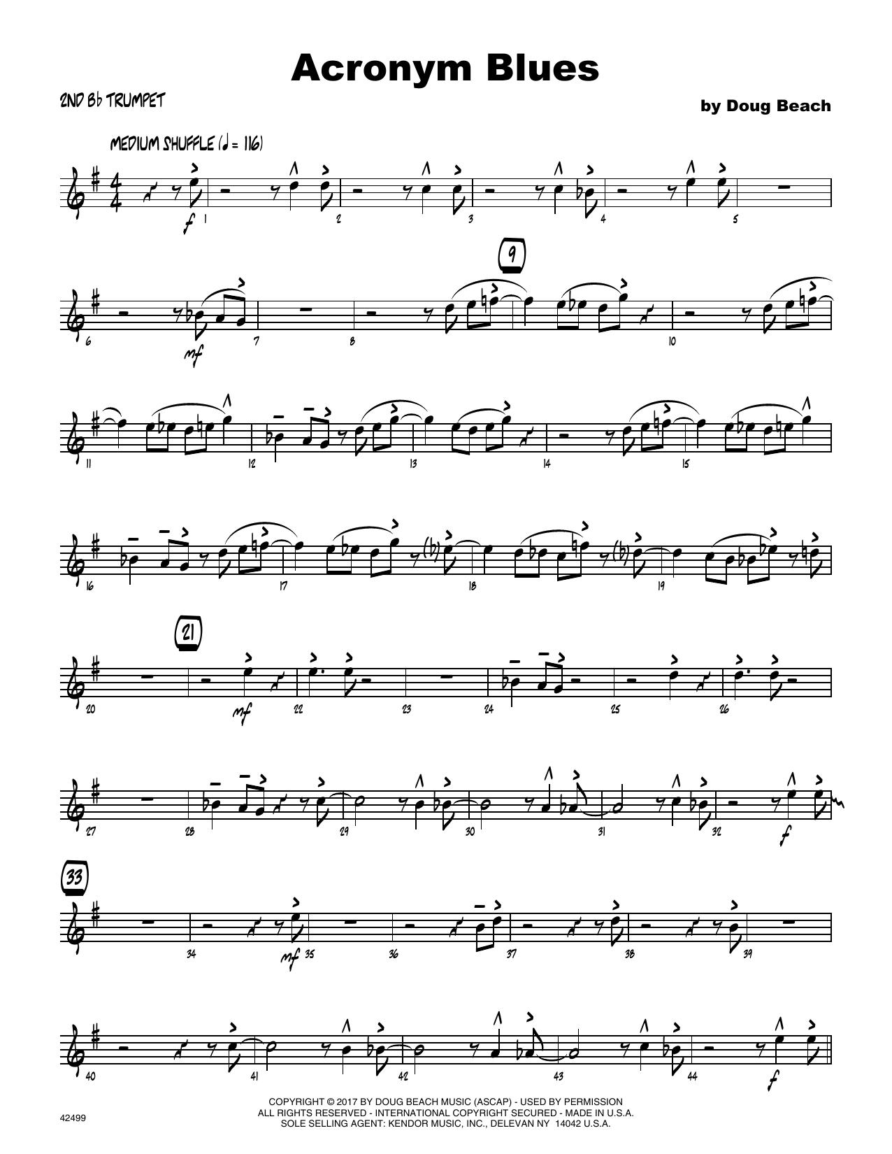 Acronym Blues - 2nd Bb Trumpet Sheet Music