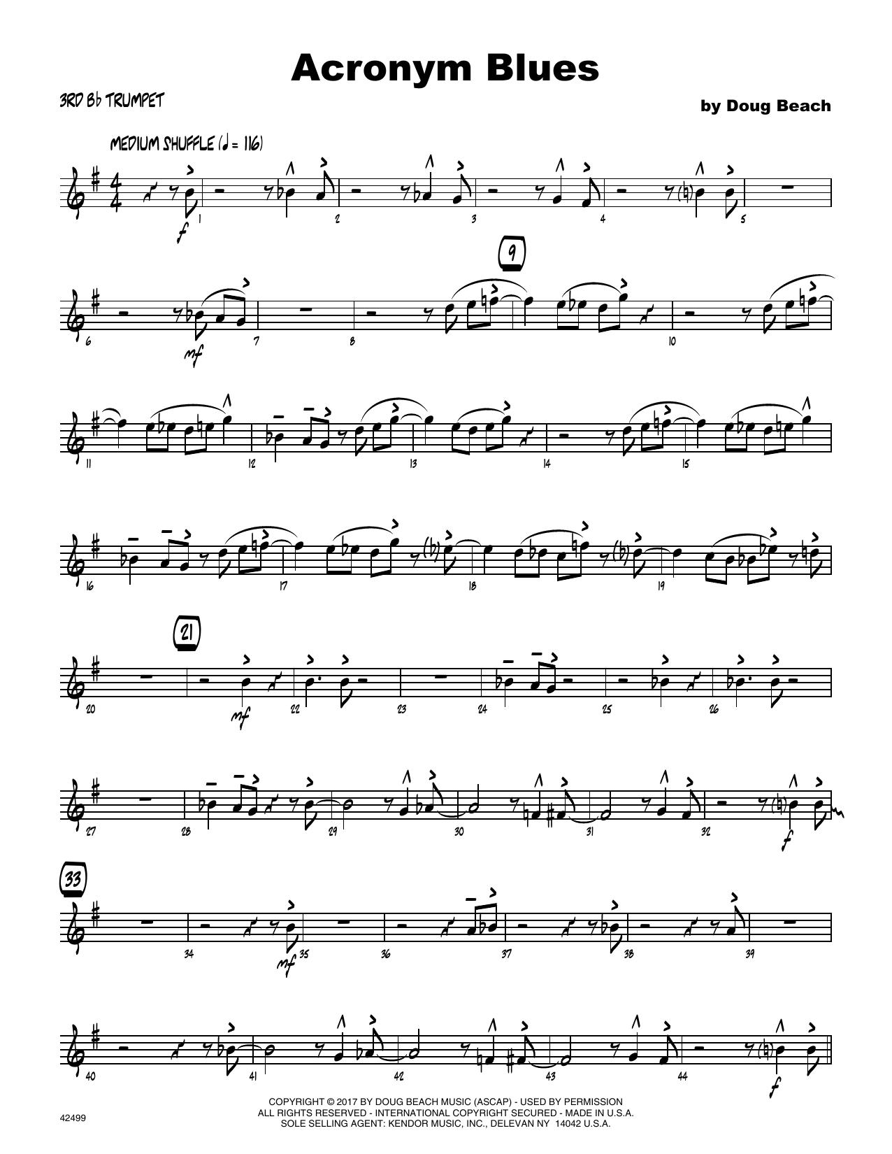 Acronym Blues - 3rd Bb Trumpet Sheet Music