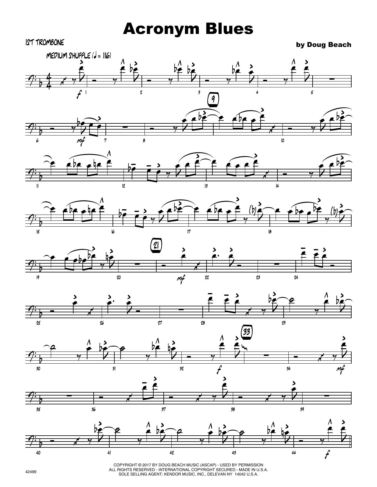 Acronym Blues - 1st Trombone Sheet Music