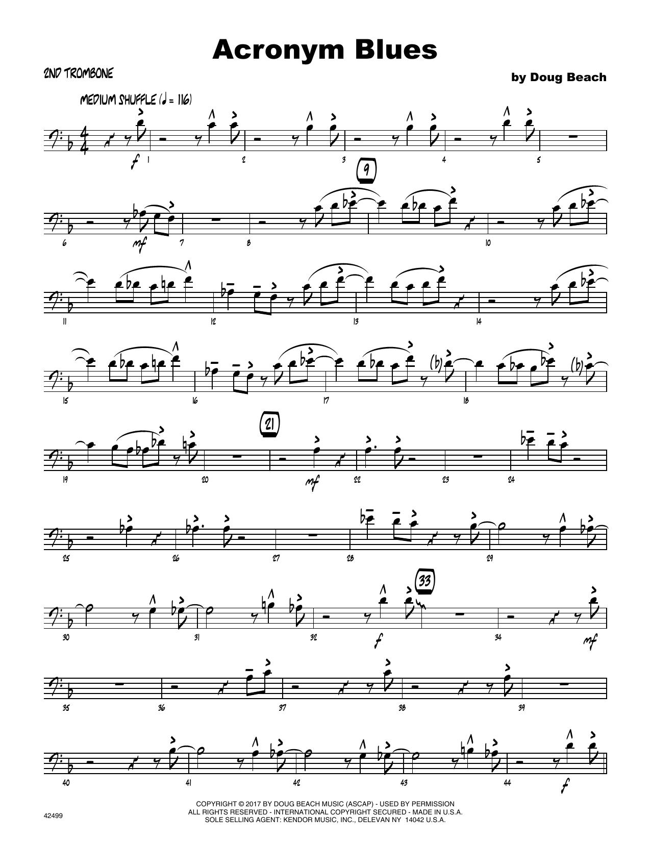 Acronym Blues - 2nd Trombone Sheet Music