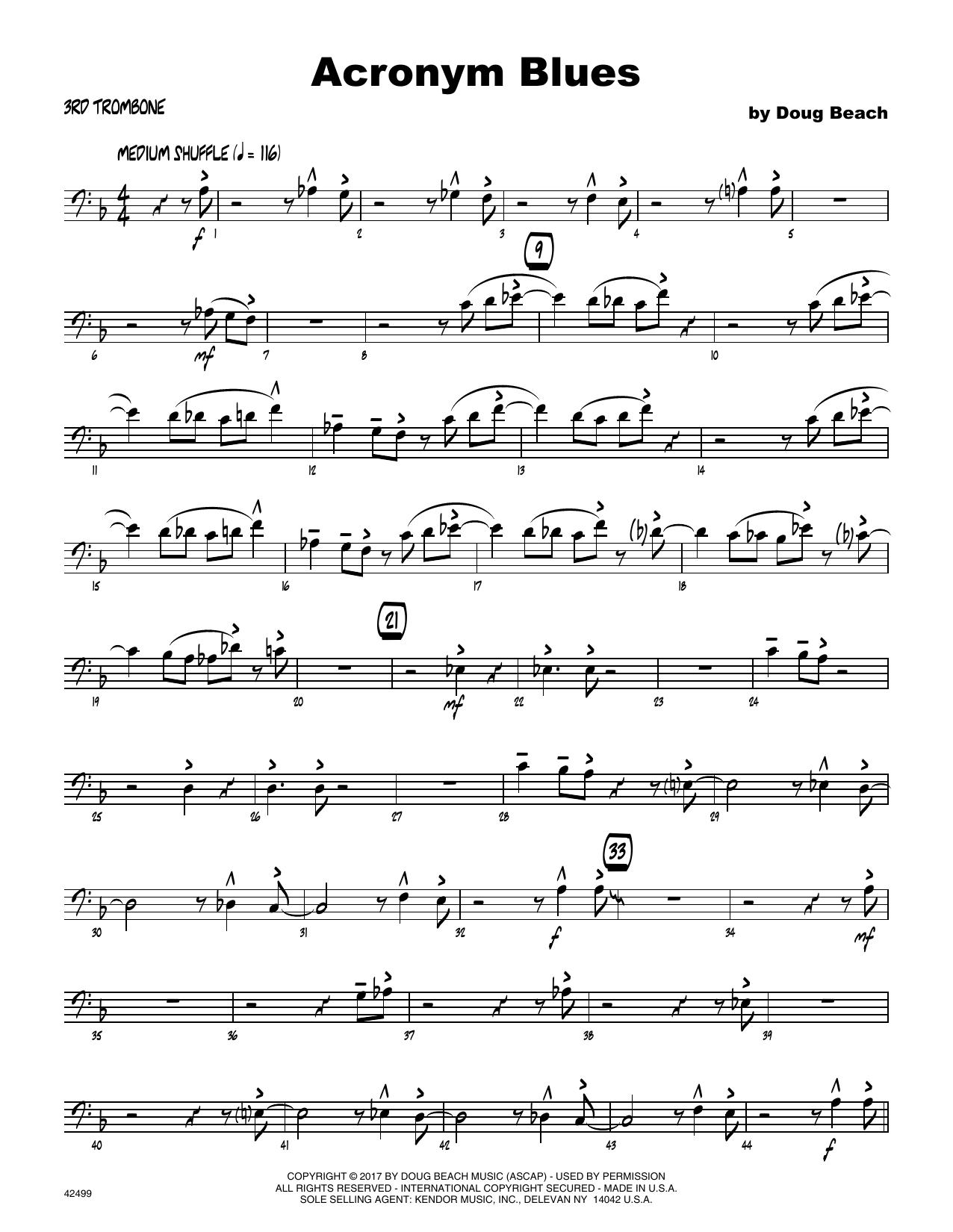 Acronym Blues - 3rd Trombone Partituras Digitales