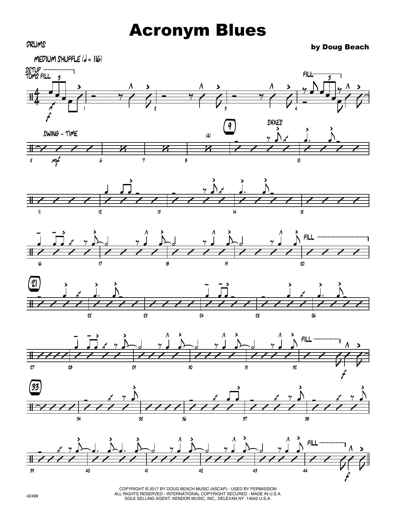 Acronym Blues - Drum Set Sheet Music