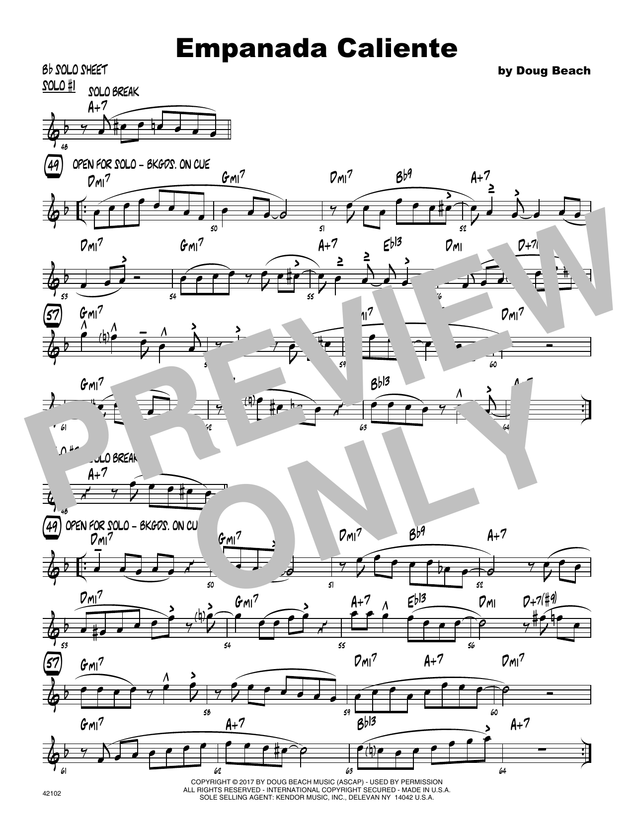 Empanada Caliente - Solo Sheet - Tenor Sax Sheet Music