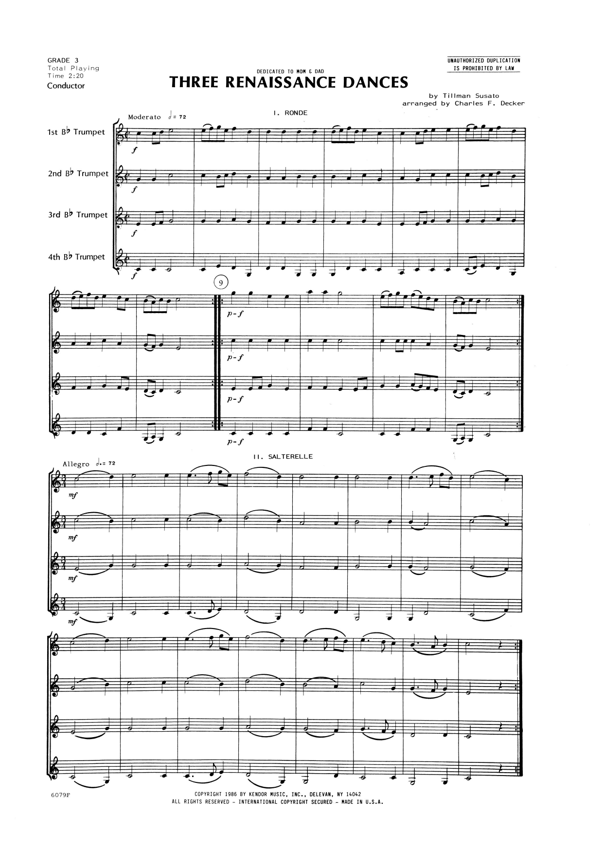 Three Renaissance Dances (From Het Derde Musyk Boexcken (The Third Little Music Book), 1551) (COMPLETE) sheet music for trumpet quartet by Charles Decker and Tillman Susato. Score Image Preview.