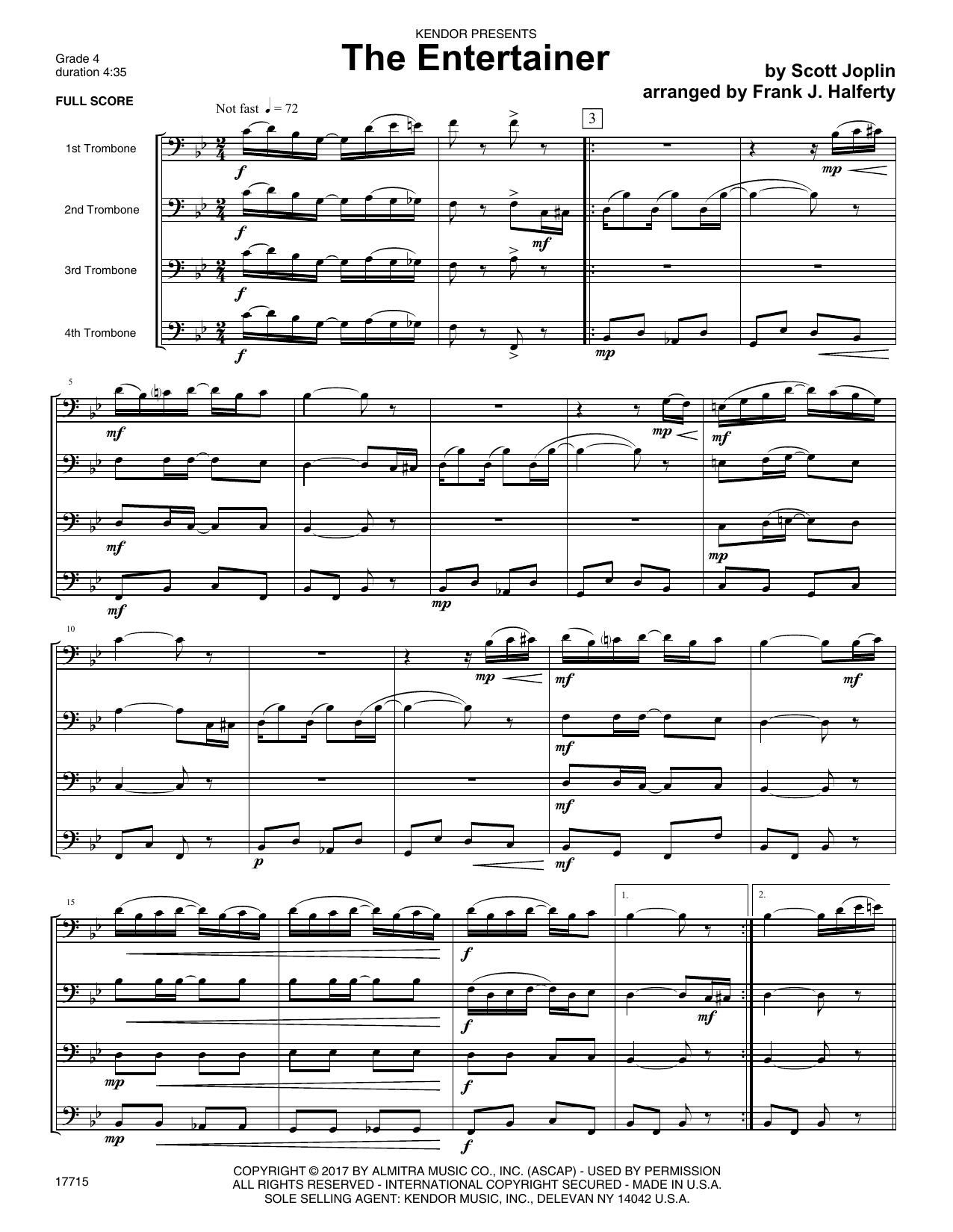 The Entertainer (COMPLETE) sheet music for four trombones by Frank J. Halferty and Scott Joplin. Score Image Preview.