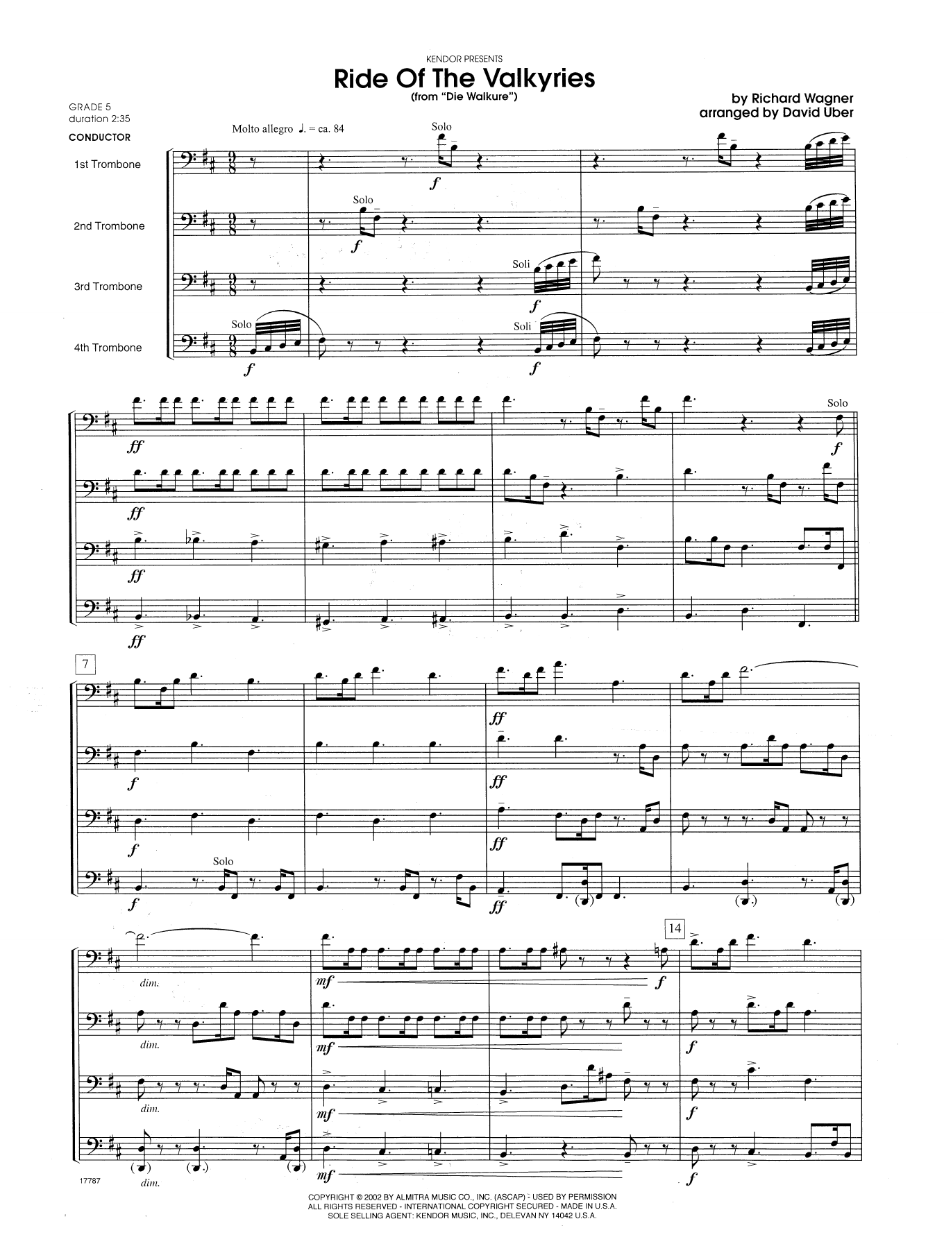 Ride Of The Valkyries From Die Walkure (COMPLETE) sheet music for trombone quartet by David Uber and Richard Wagner. Score Image Preview.