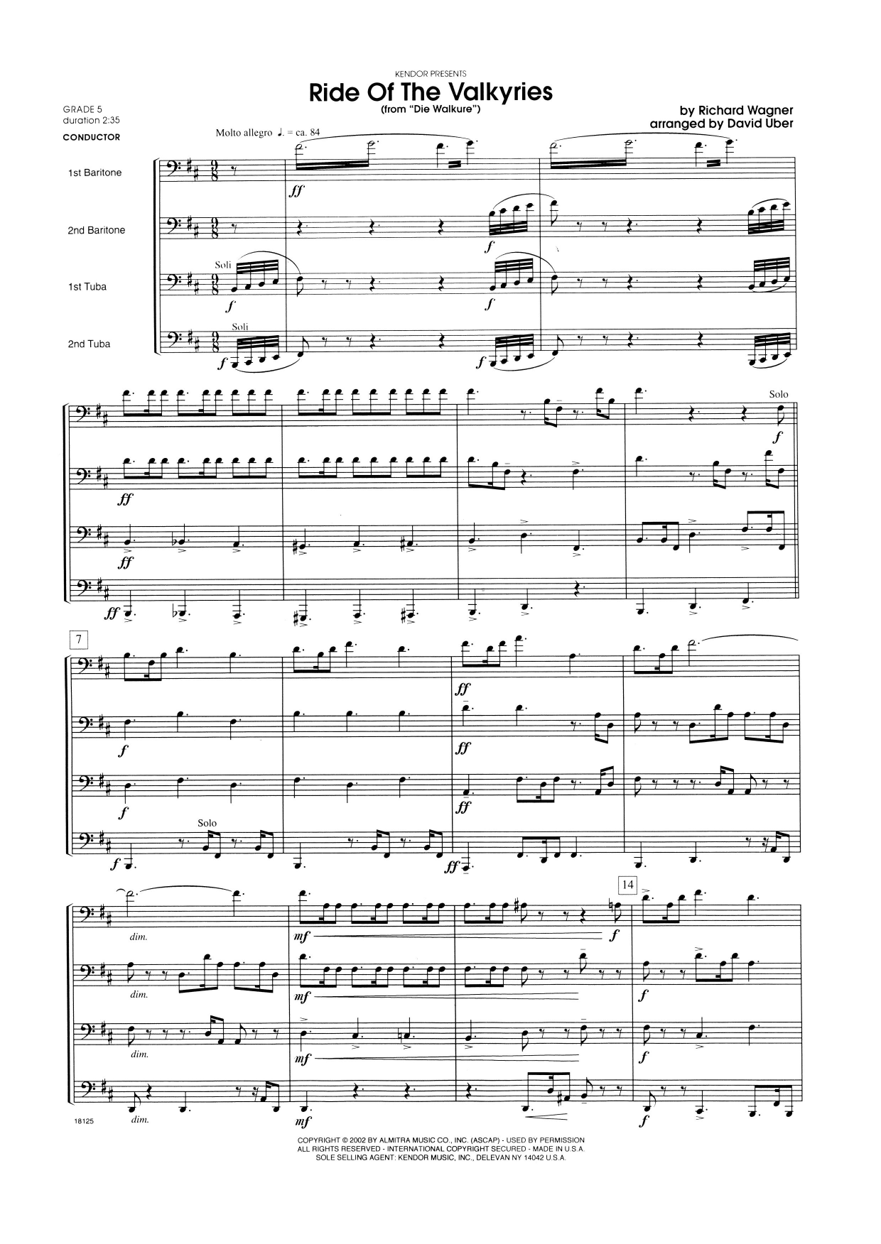 Ride Of The Valkyries From Die Walkure (COMPLETE) sheet music for brass quartet by David Uber and Richard Wagner. Score Image Preview.