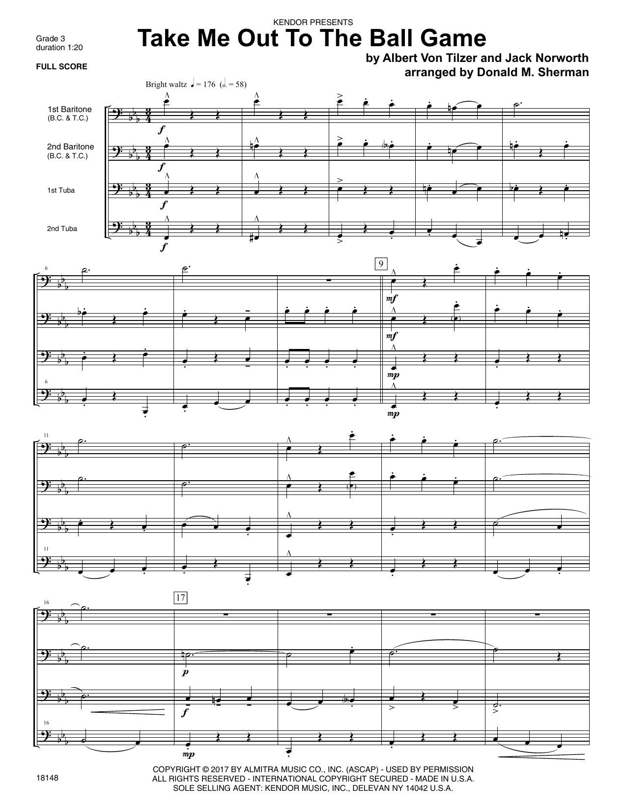 Take Me Out To The Ball Game (COMPLETE) sheet music for brass ensemble by Donald M. Sherman. Score Image Preview.
