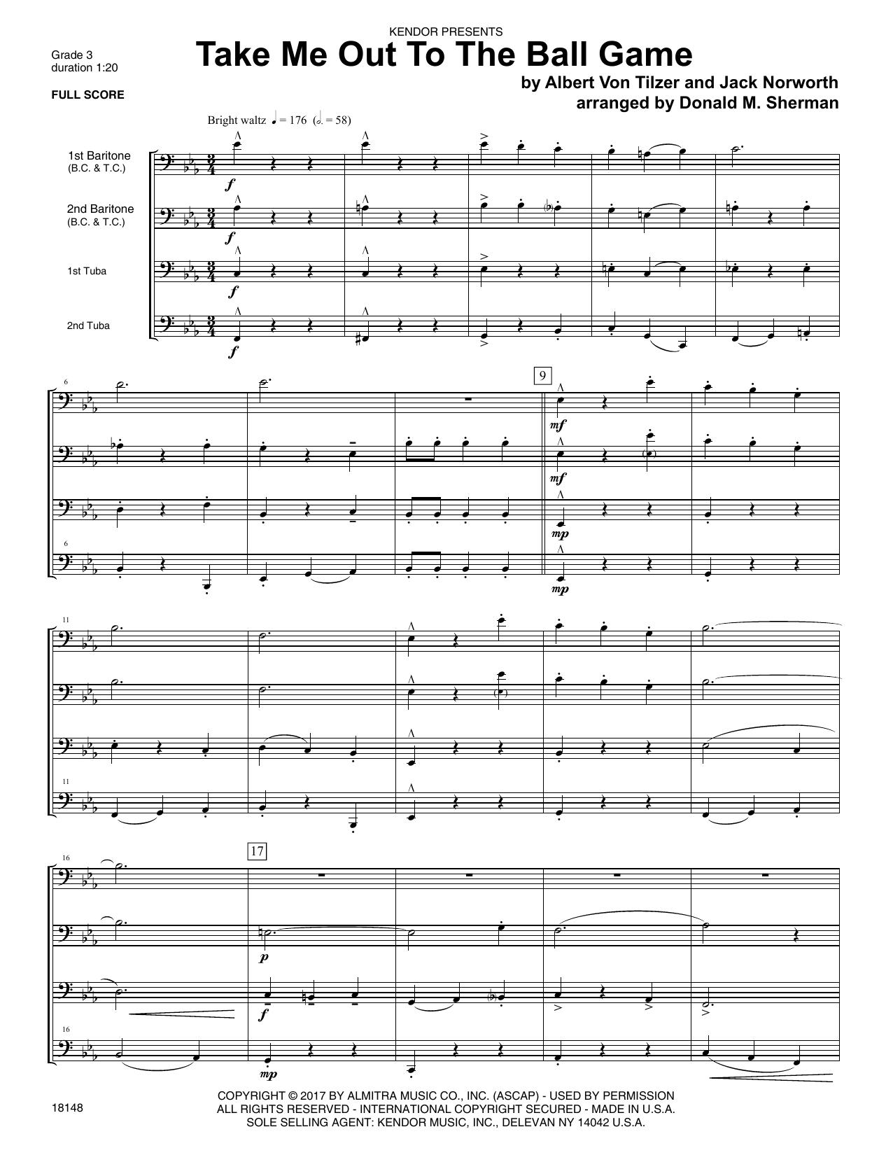 Take Me Out To The Ball Game Full Score Sheet Music Donald M Sherman Brass Ensemble