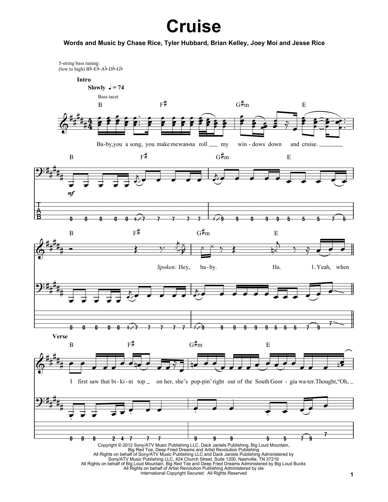 Cruise (Guitar Tab (Single Guitar))
