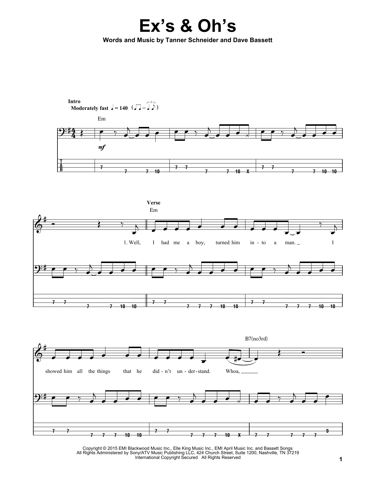 Ex's & Oh's (Bass Guitar Tab)