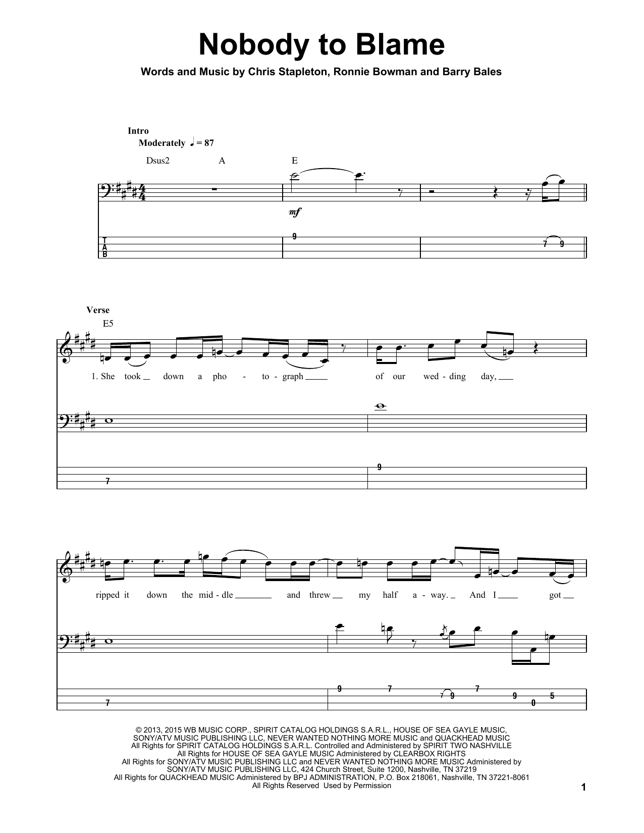 Nobody To Blame (Guitar Tab (Single Guitar))