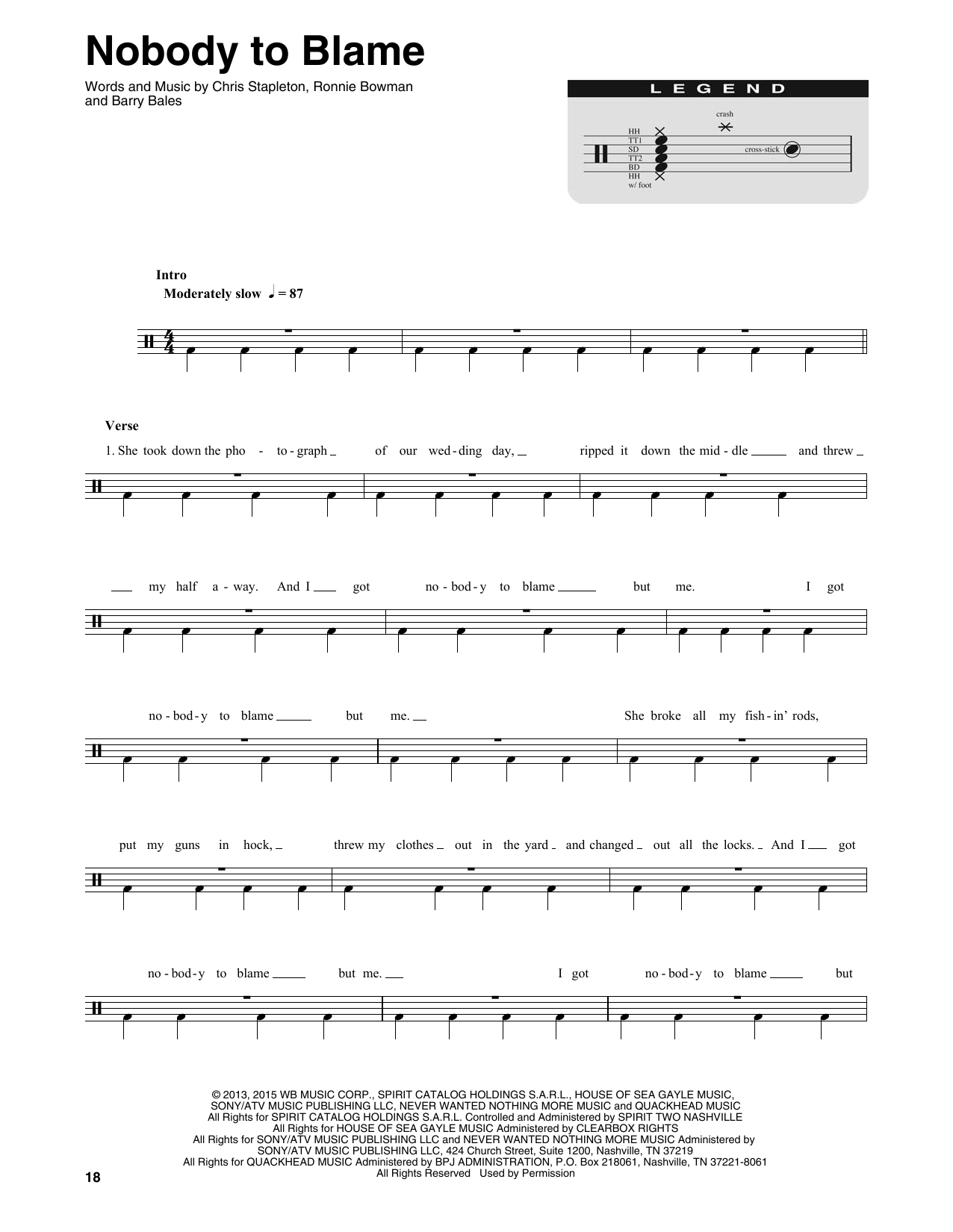 Nobody To Blame (Drums Transcription)