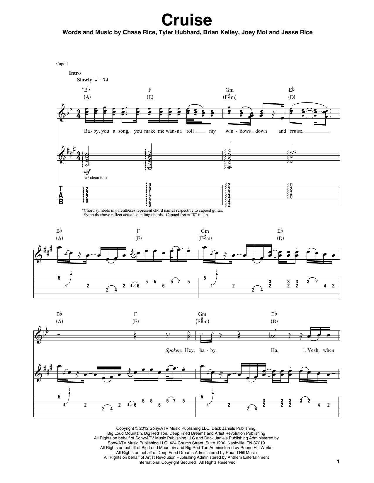 Cruise (Guitar Tab (Single Guitar))