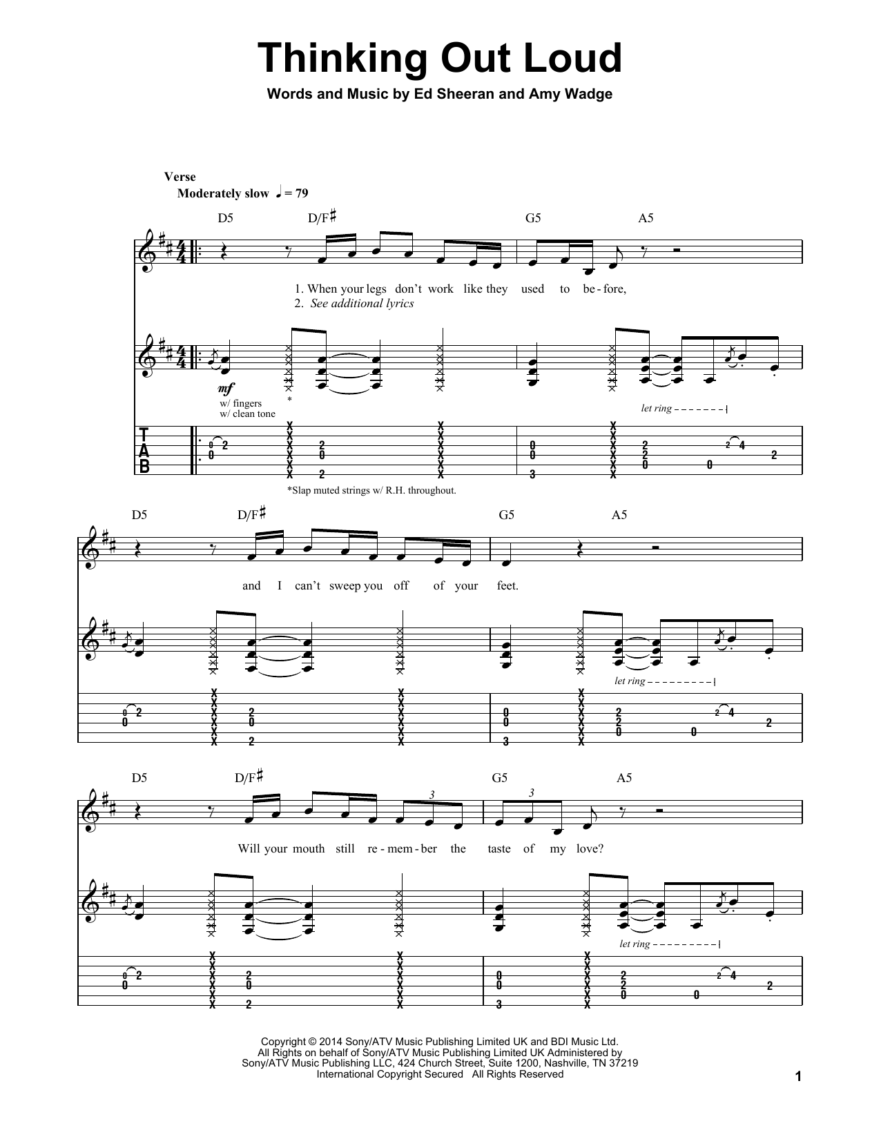 Thinking Out Loud (Guitar Tab Play-Along)