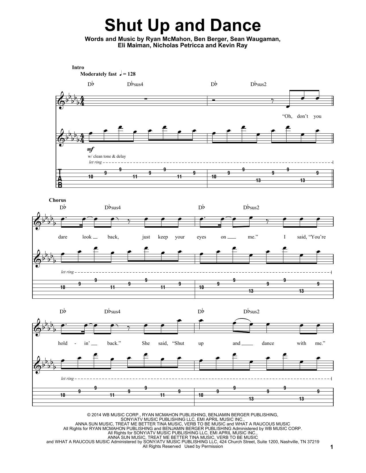 Shut Up And Dance (Guitar Tab (Single Guitar))